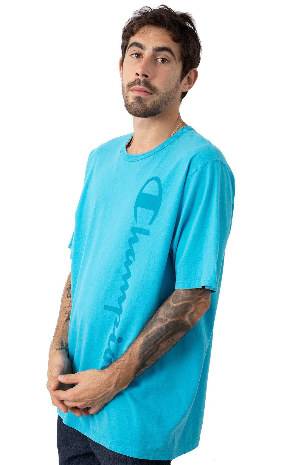 Heritage Garment Dyed Vertical Script T-Shirt - Tidal Wave 2