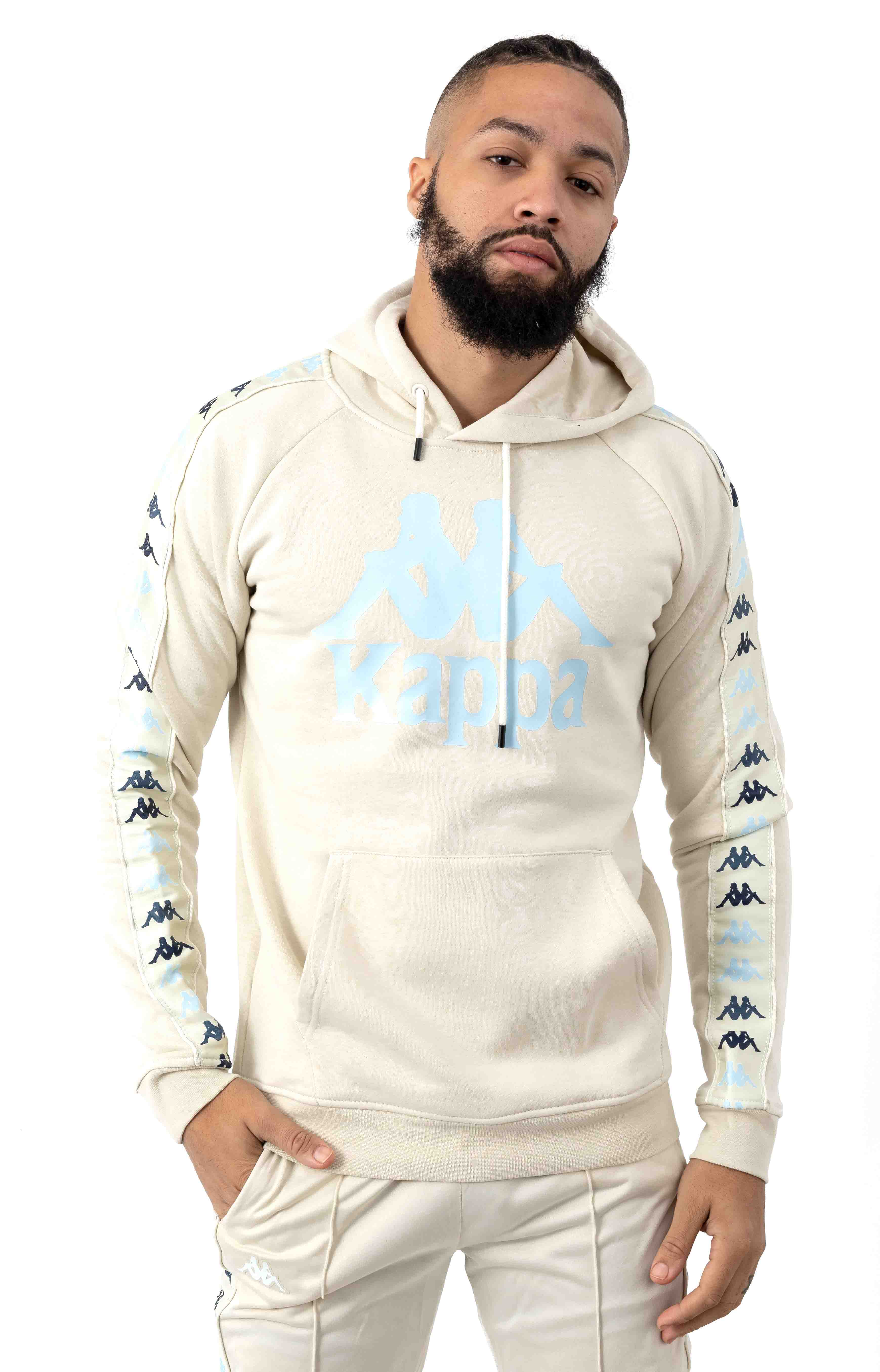 222 Banda Dinto Pullover Hoodie - White Egg/Illusion Blue