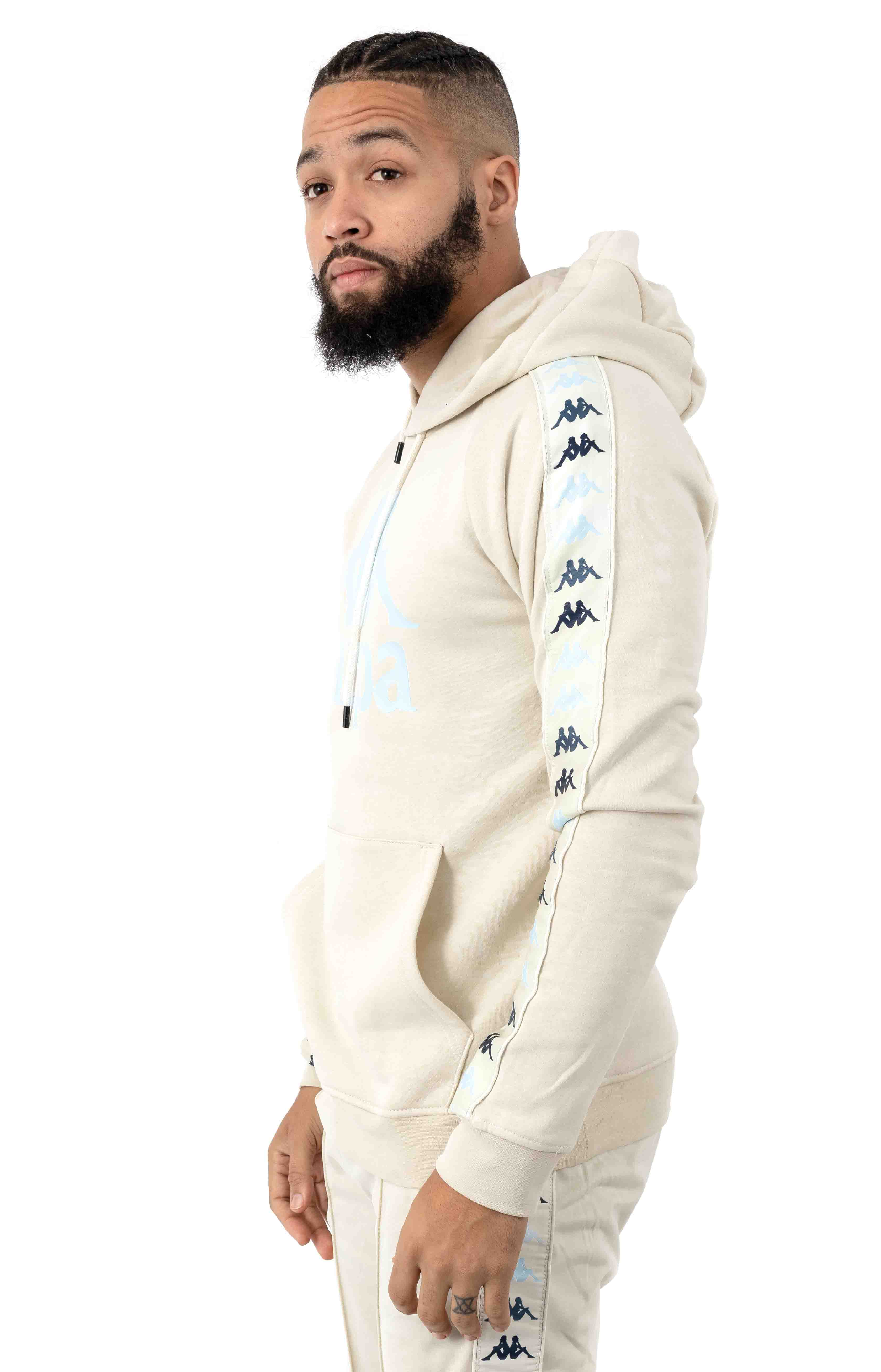222 Banda Dinto Pullover Hoodie - White Egg/Illusion Blue 2