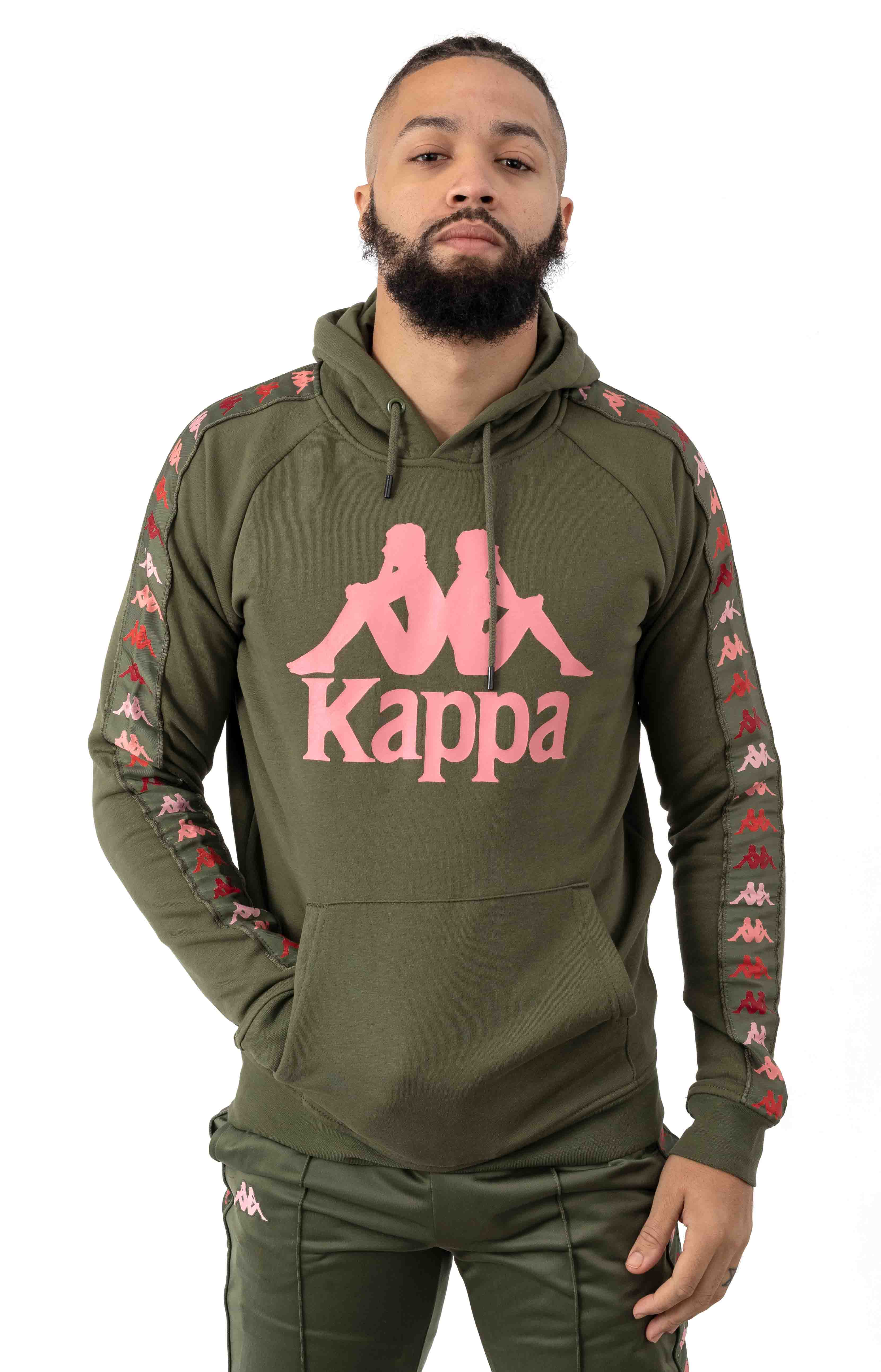 222 Banda Dinto Pullover Hoodie - Green/Pink