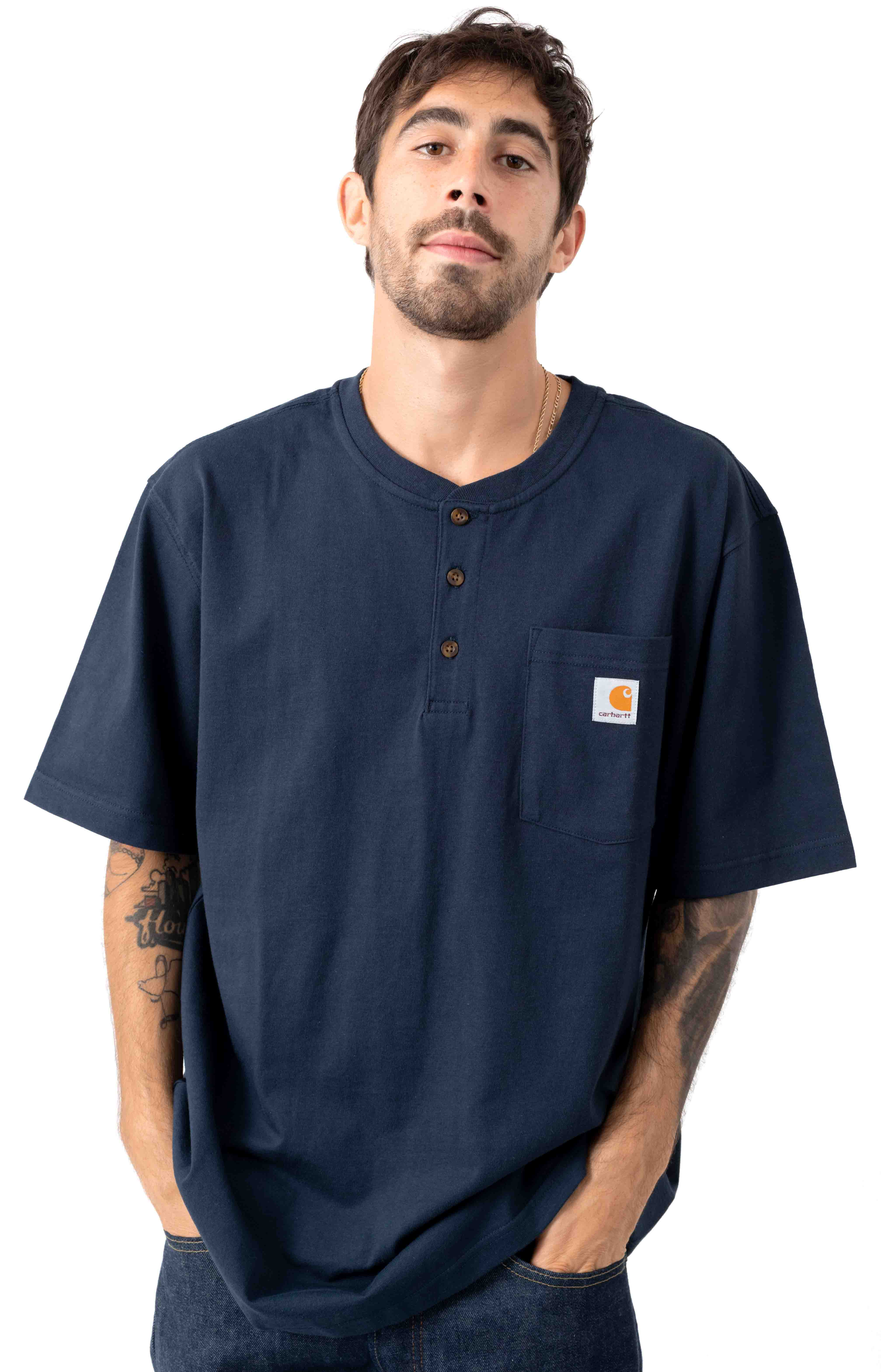 (K84) S/S Workwear Henley T-Shirt - Navy