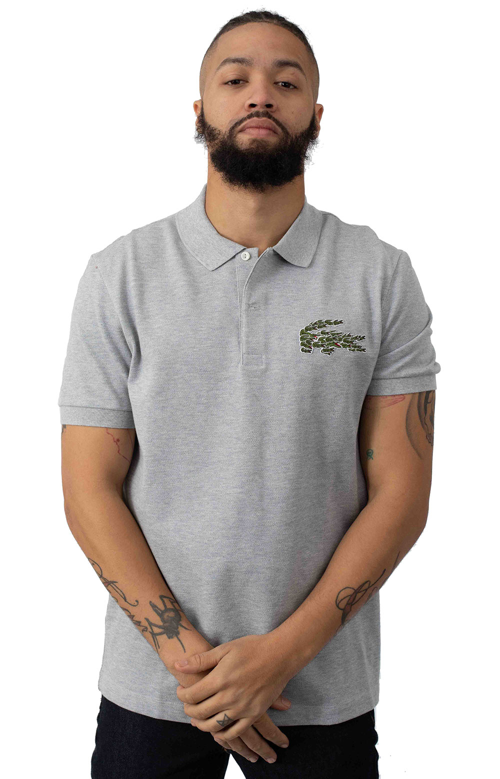 Regular Fit Croc Magic Cotton Pique Polo - Grey Chine