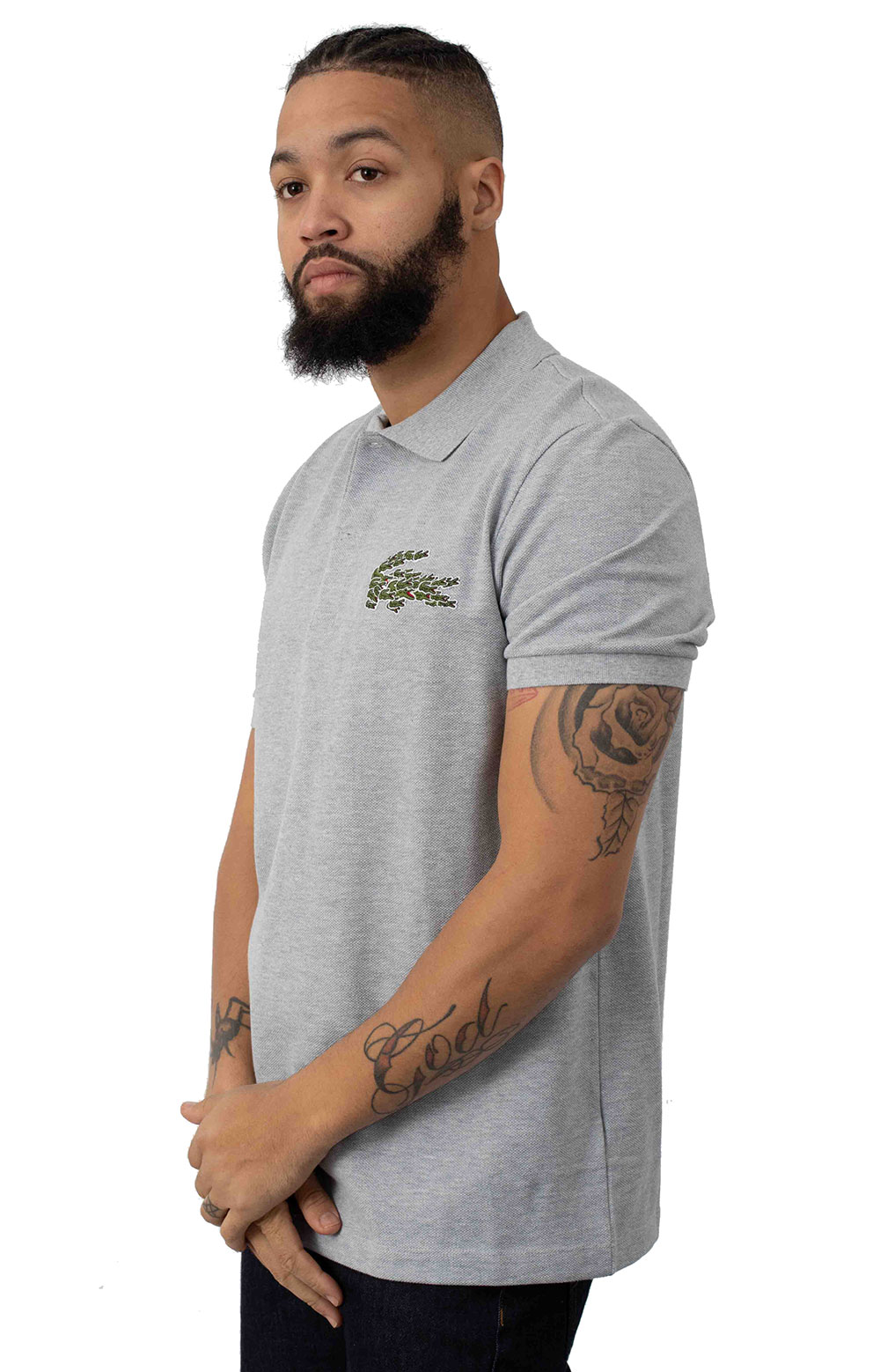 Regular Fit Croc Magic Cotton Pique Polo - Grey Chine 2