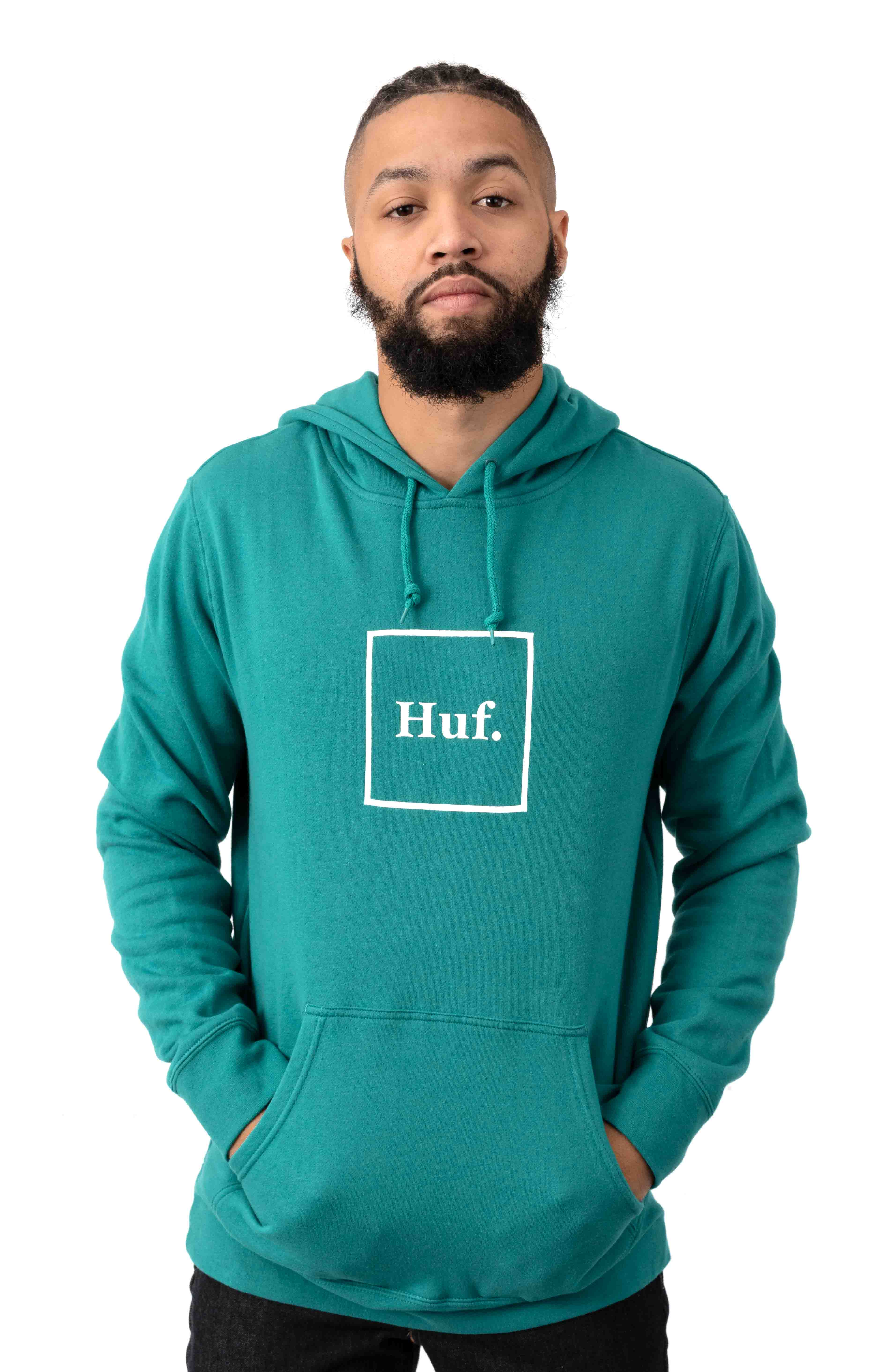 Essentials Box Logo Pullover Hoodie - Quetzal Green