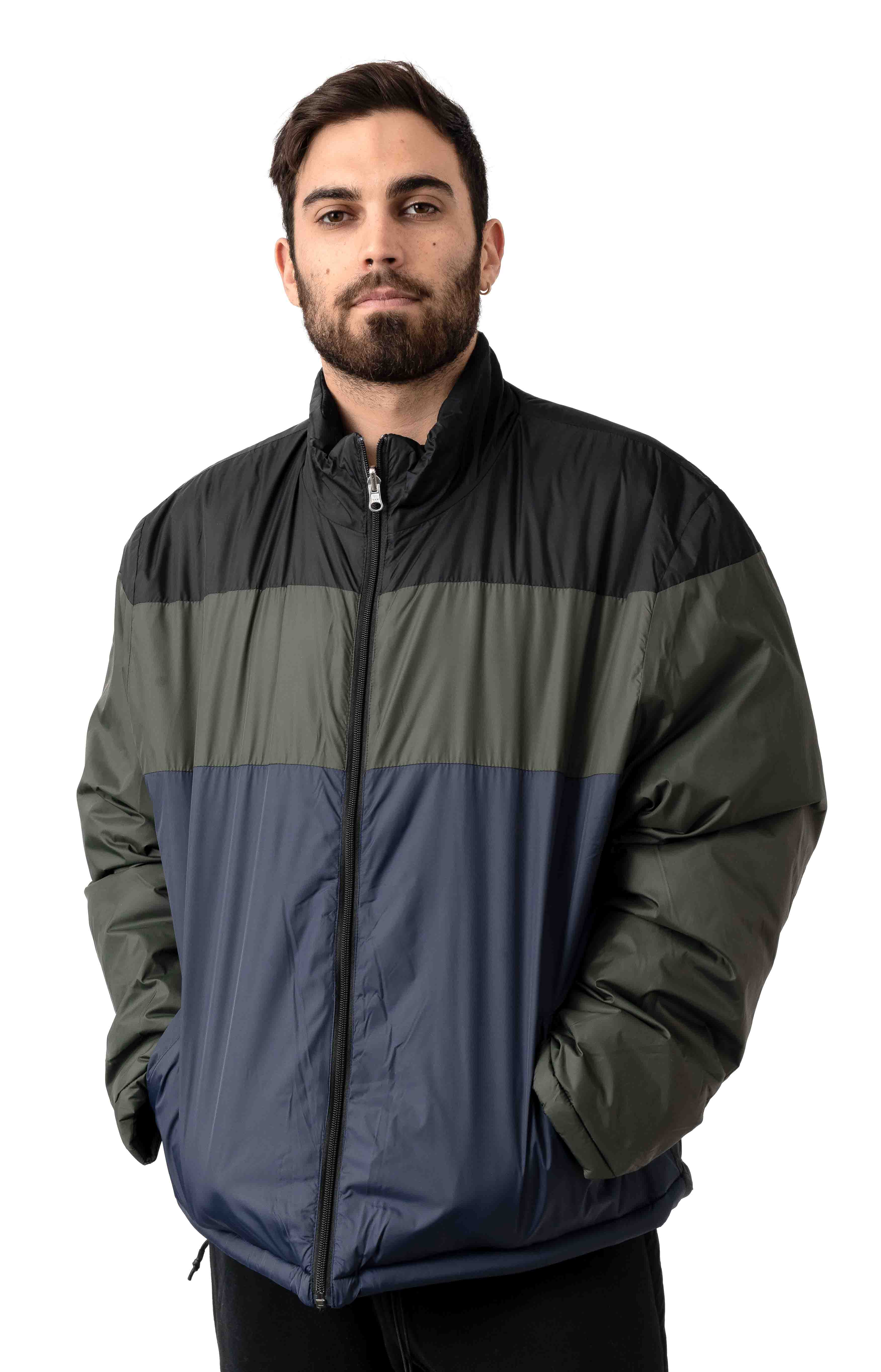 Patchwork Reversible Puffer Jacket - Dark Army