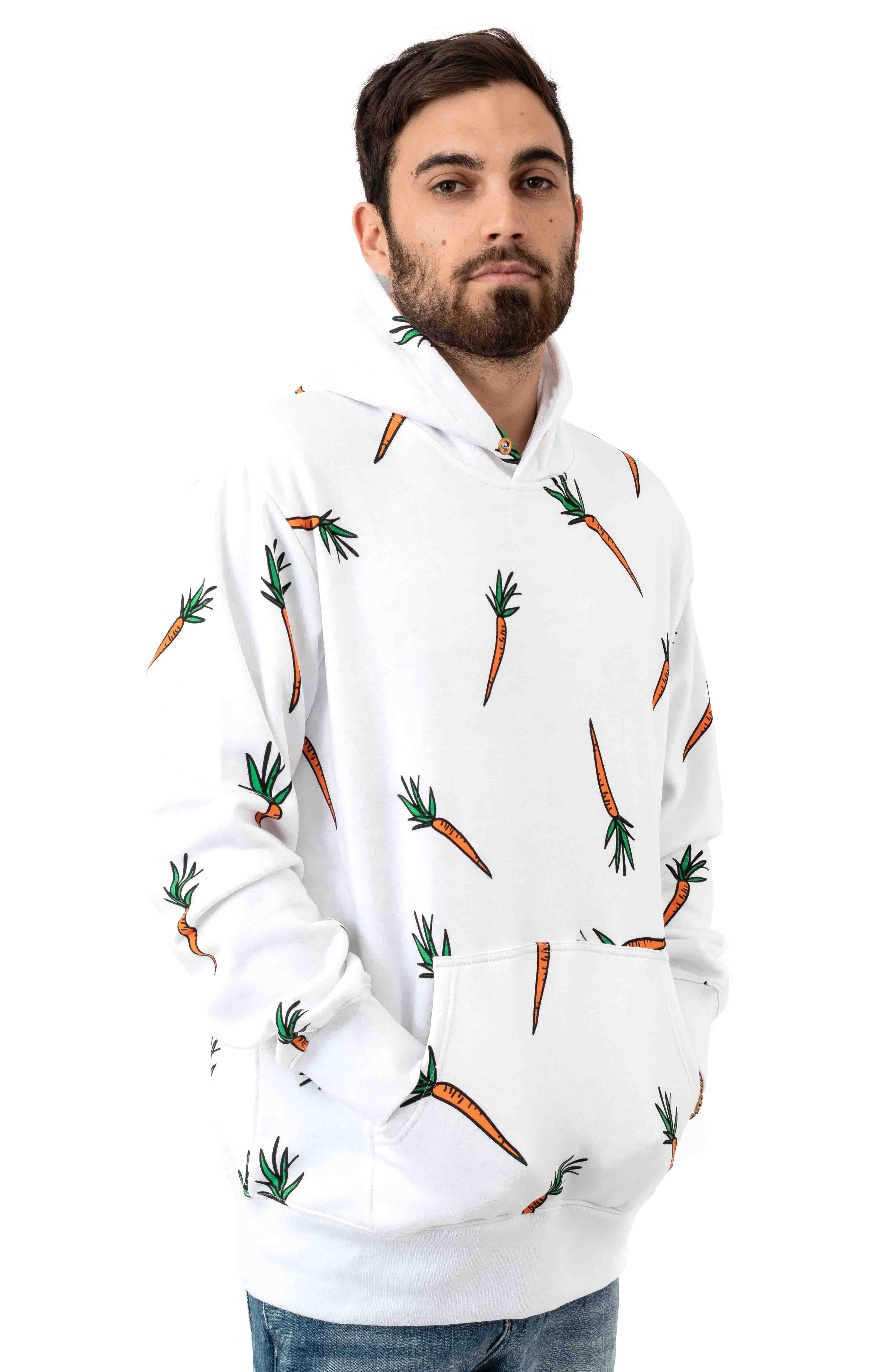 All Over Carrot Pullover Hoodie - White 2