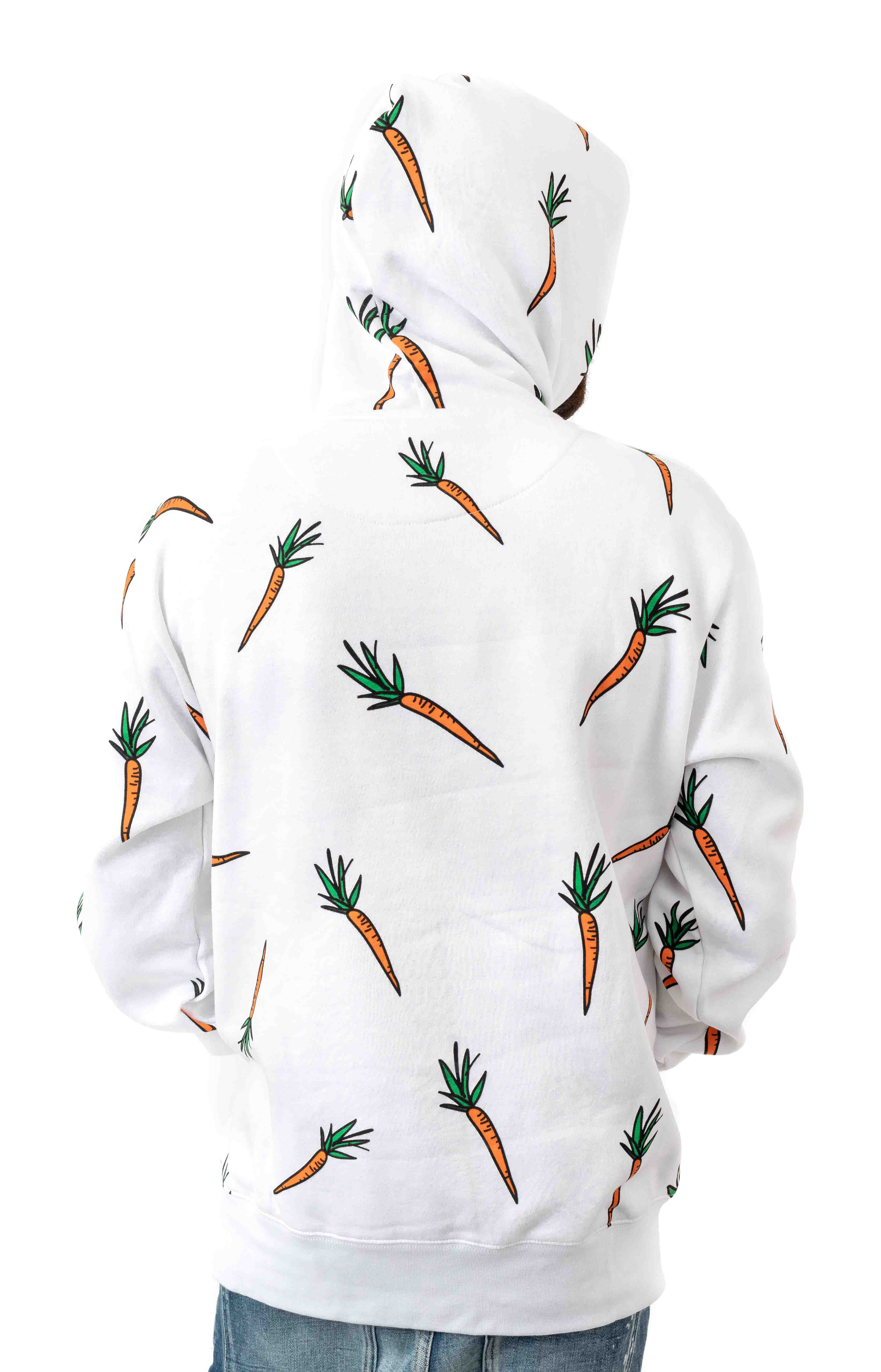 All Over Carrot Pullover Hoodie - White 3