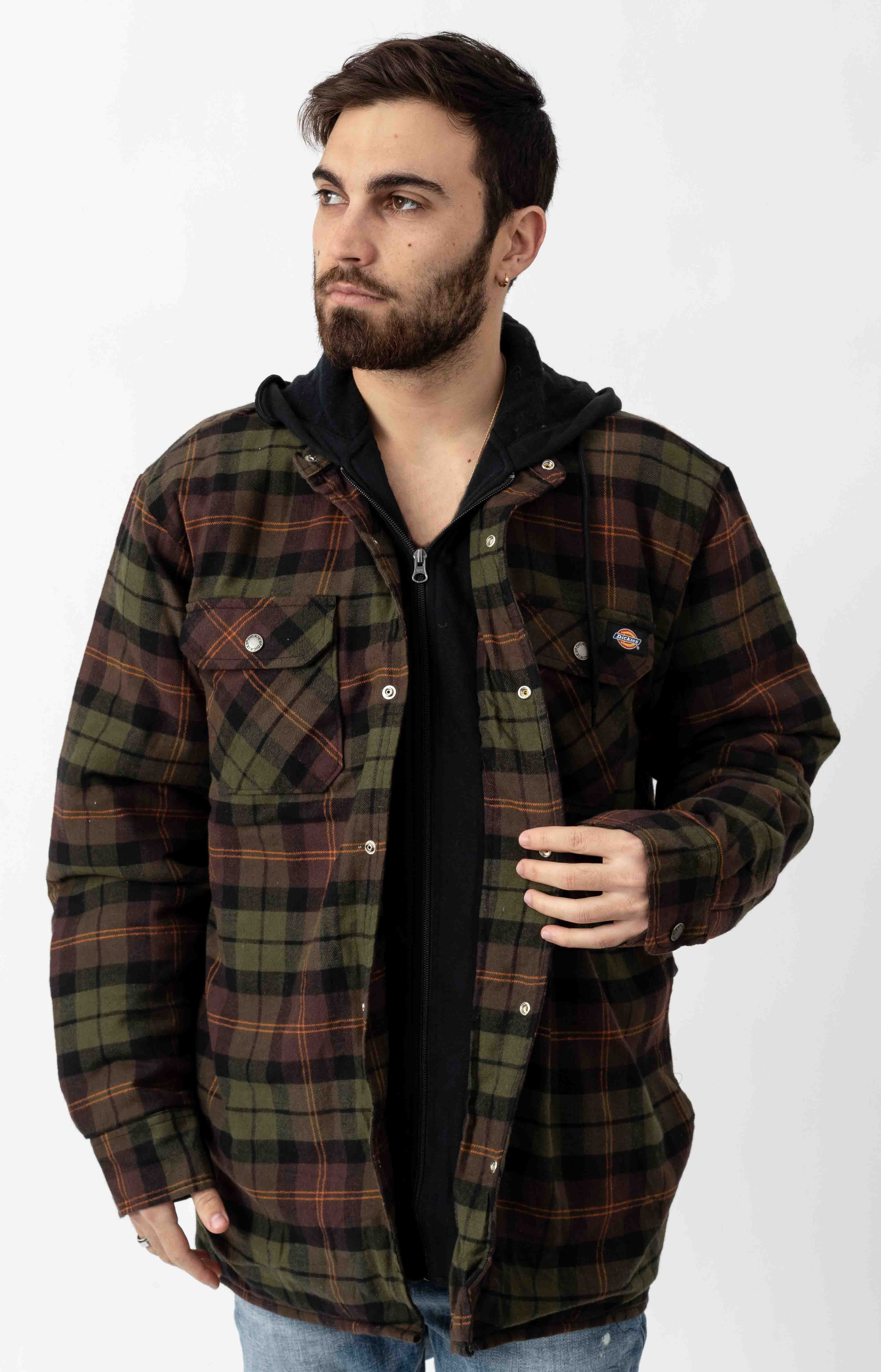 (TJ201POC) Relaxed Fit Icon Hooded Quilted Shirt Jacket - Chocolate Tactical Green Plaid 2