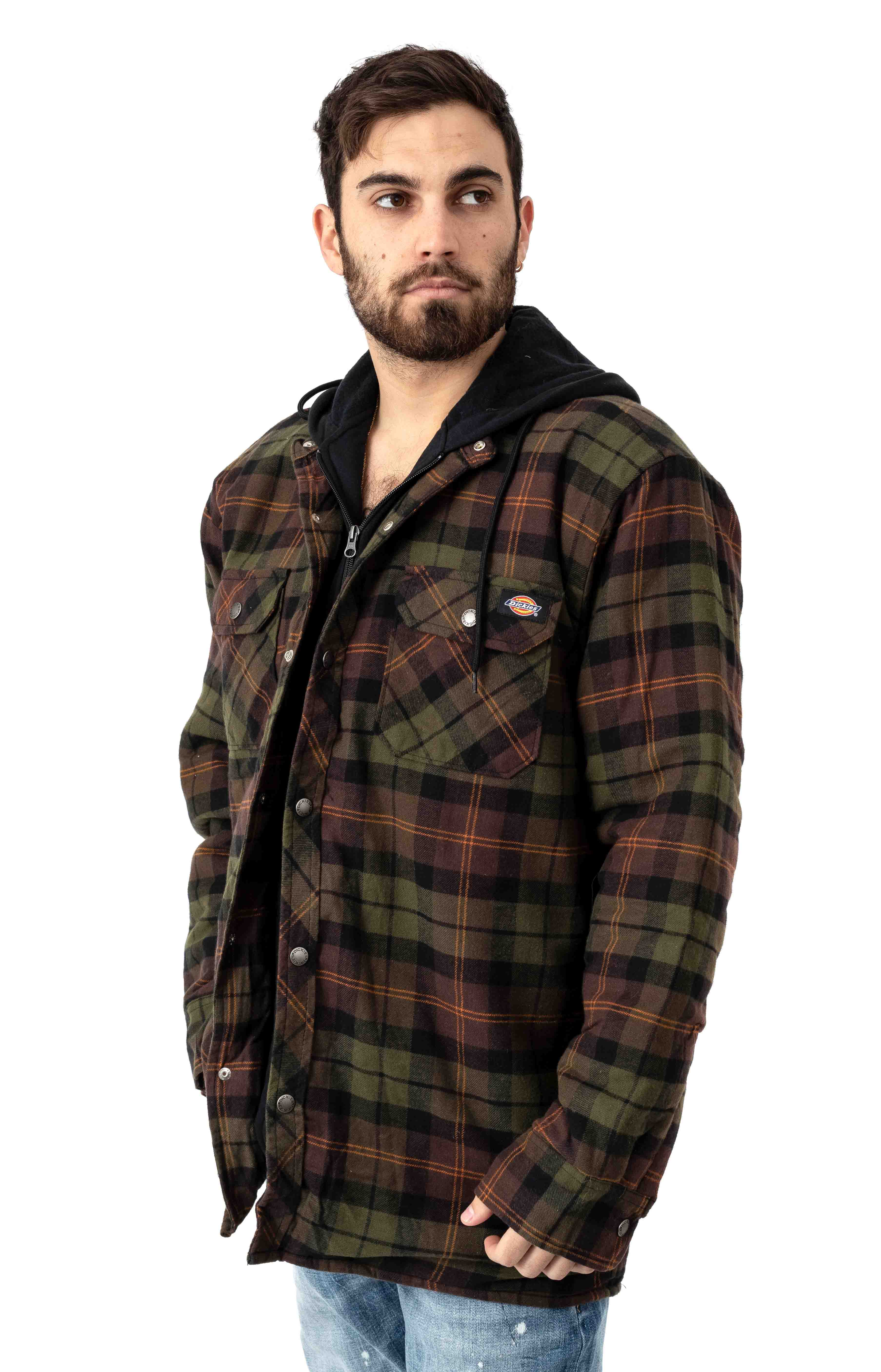 (TJ201POC) Relaxed Fit Icon Hooded Quilted Shirt Jacket - Chocolate Tactical Green Plaid