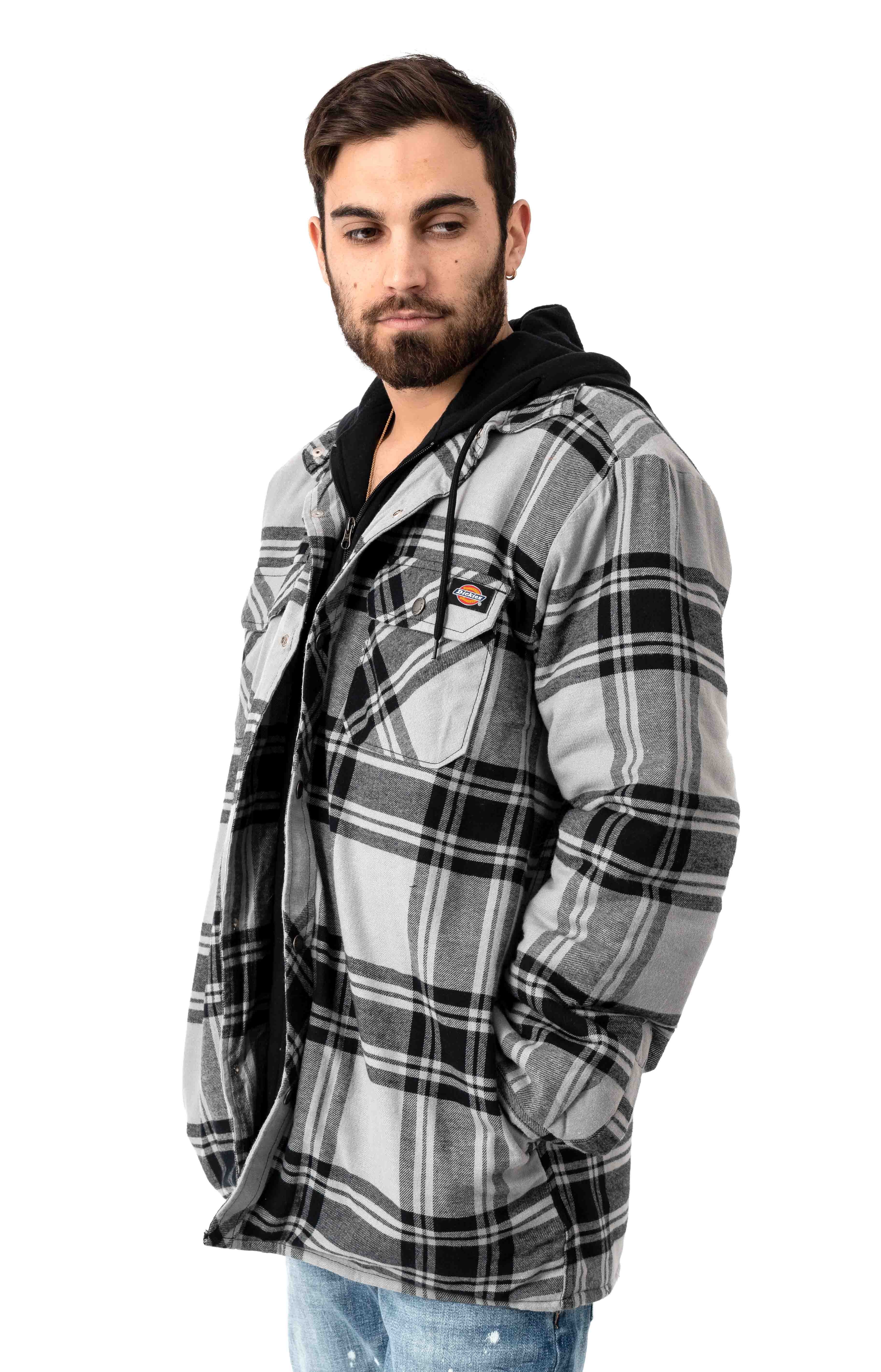 (TJ201POK) Relaxed Fit Icon Hooded Quilted Shirt Jacket - Gray/Black Plaid 2