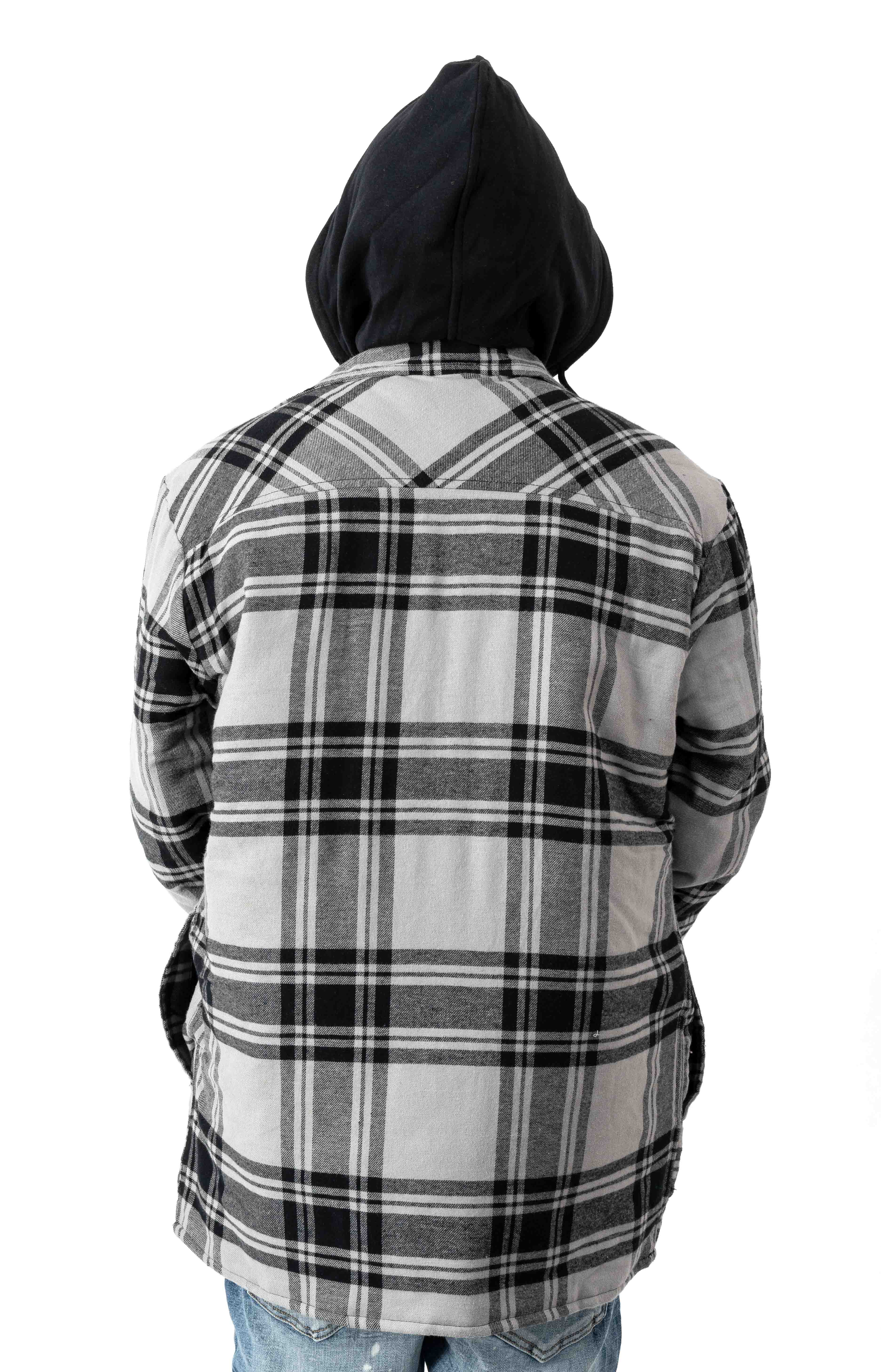 (TJ201POK) Relaxed Fit Icon Hooded Quilted Shirt Jacket - Gray/Black Plaid 3