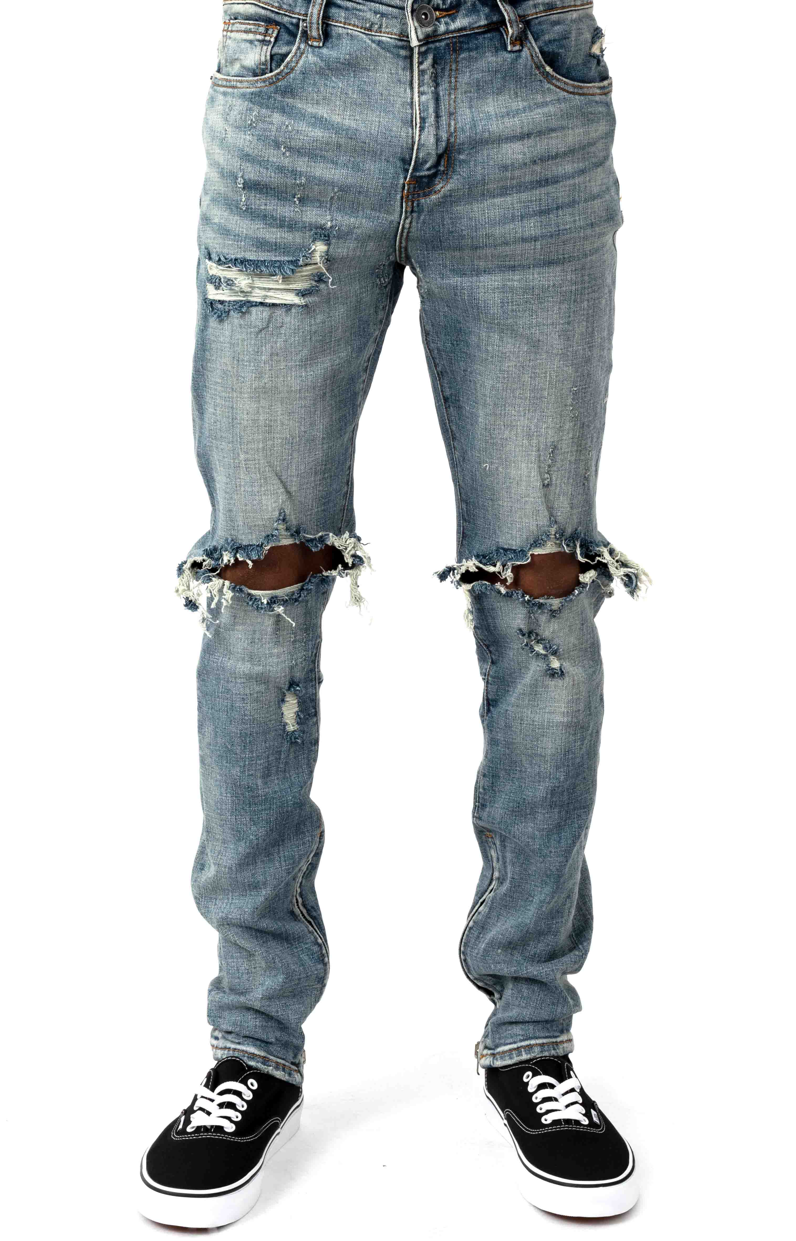 (PAC-131) Pacific Denim Jeans - Stone Wash Blue Ripped