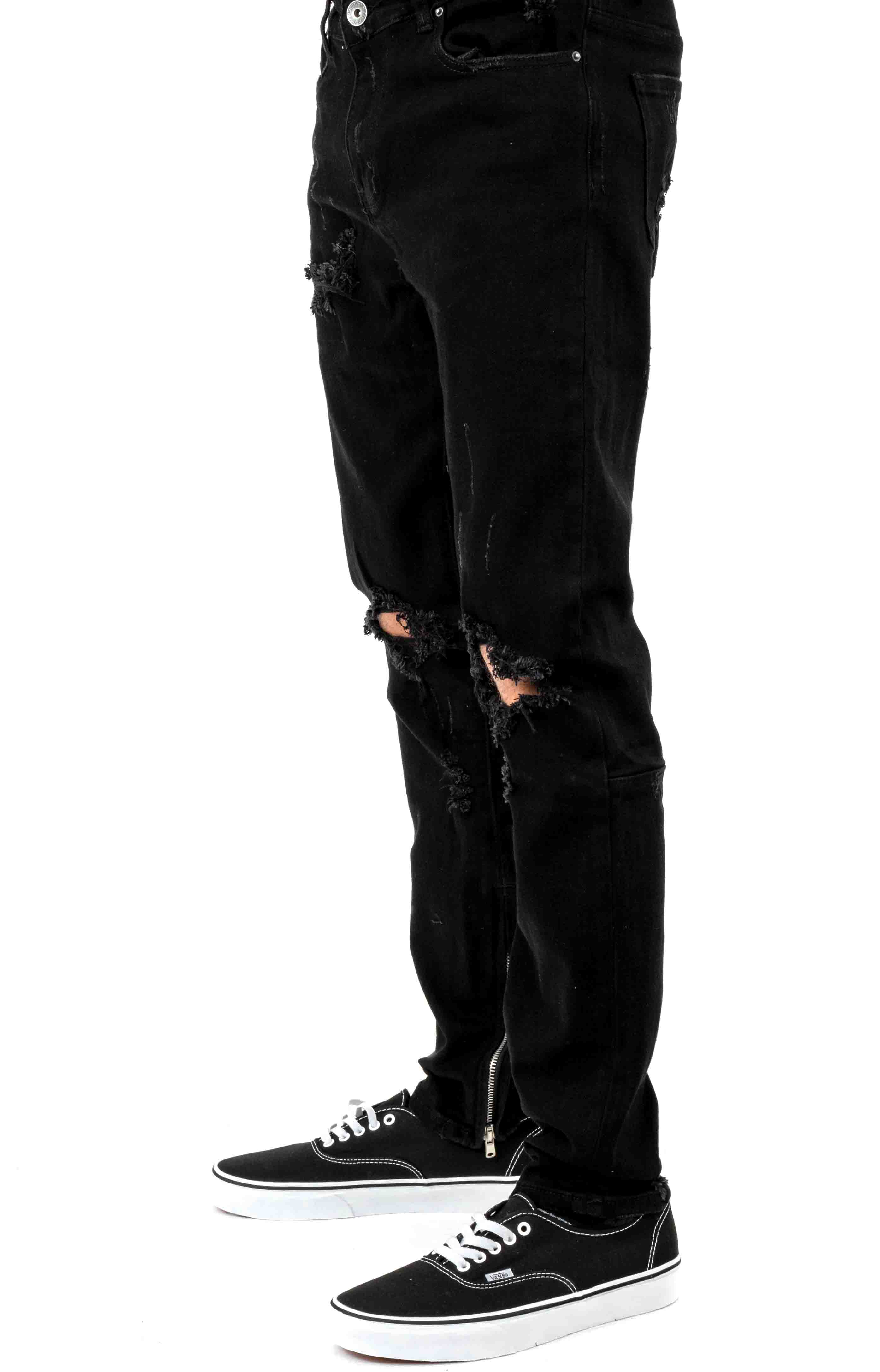 (PAC-16) Pacific Denim Jeans - Black Ripped 2