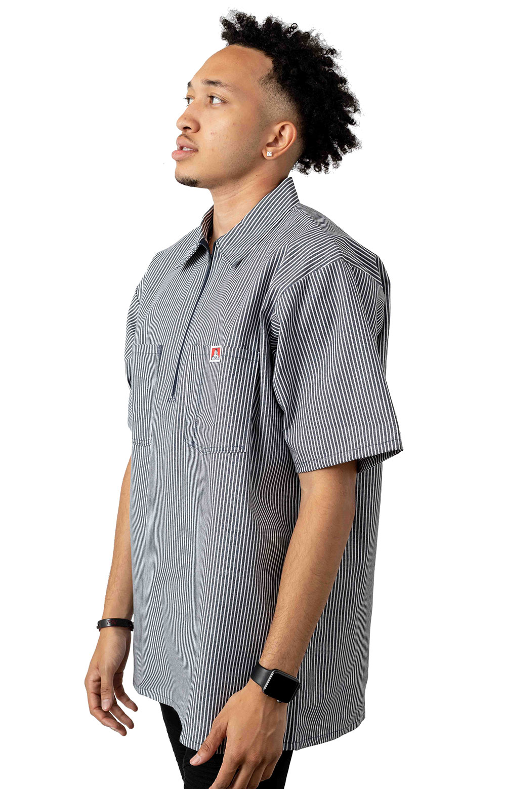 Short Sleeve Stripe 1/2 Zip Shirt - Navy 2