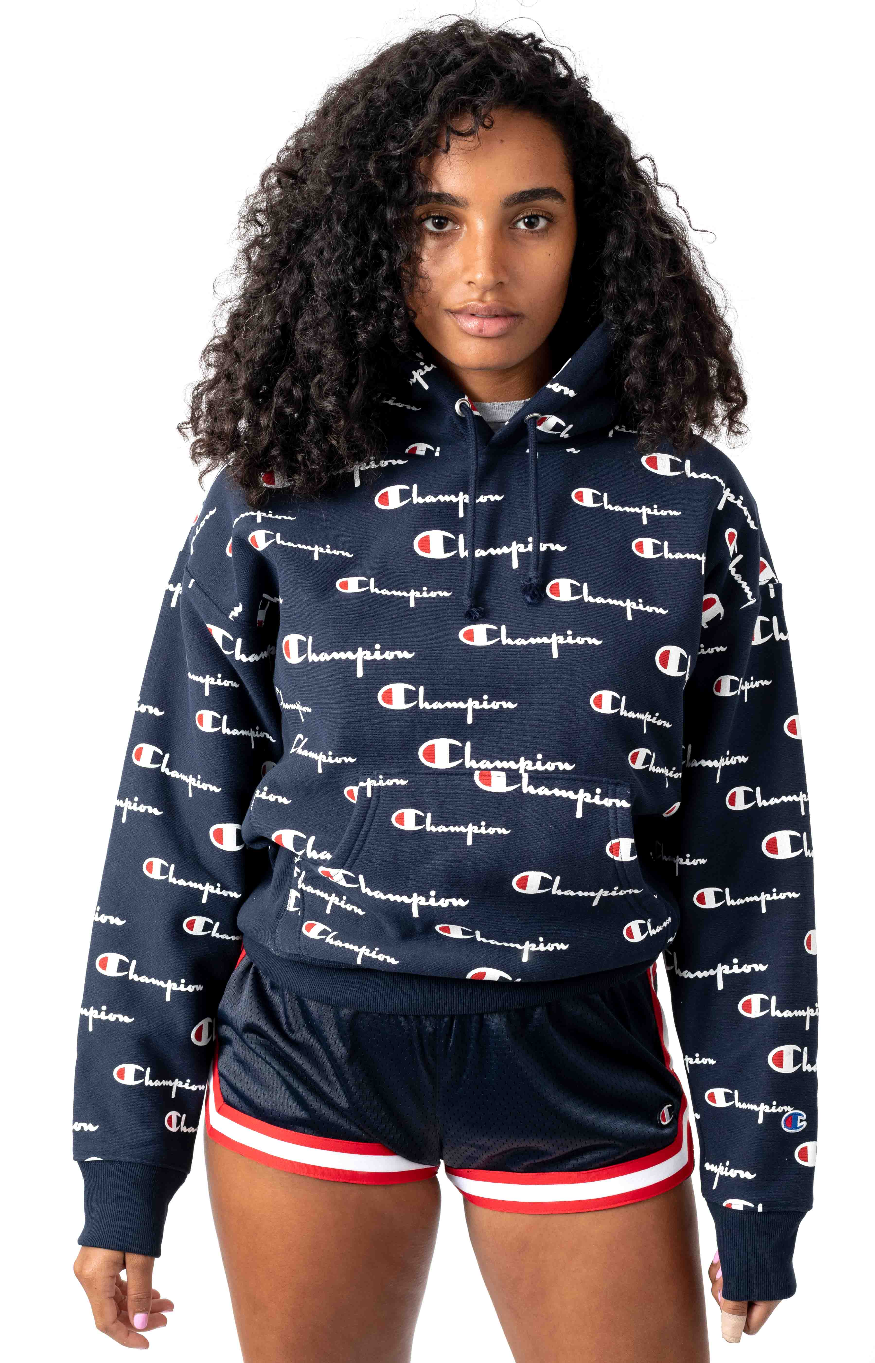 RW All Over Multi Scale Script Pullover Hoodie - Navy