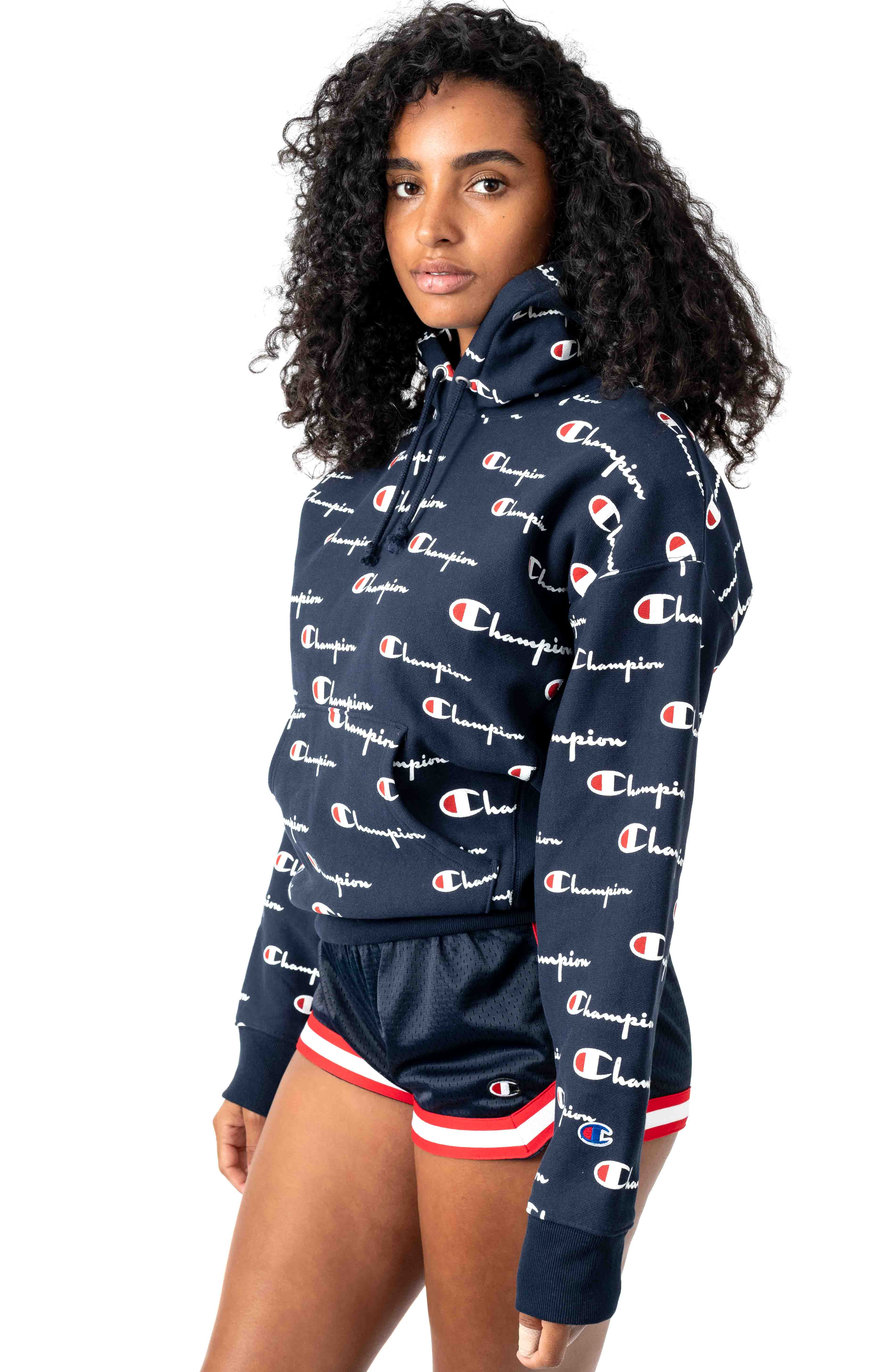 RW All Over Multi Scale Script Pullover Hoodie - Navy 2