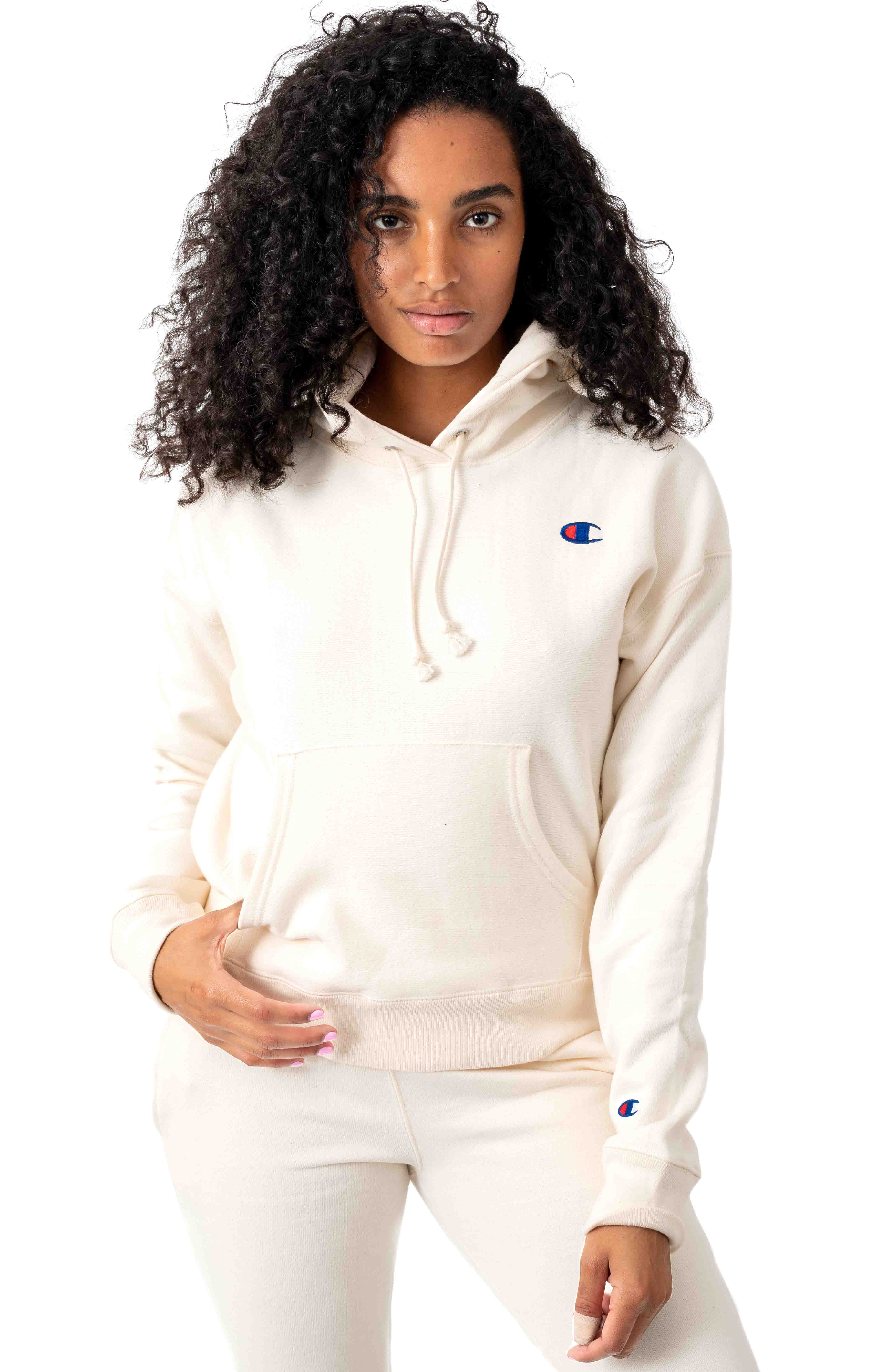Reverse Weave Pullover Hoodie - Chalk White