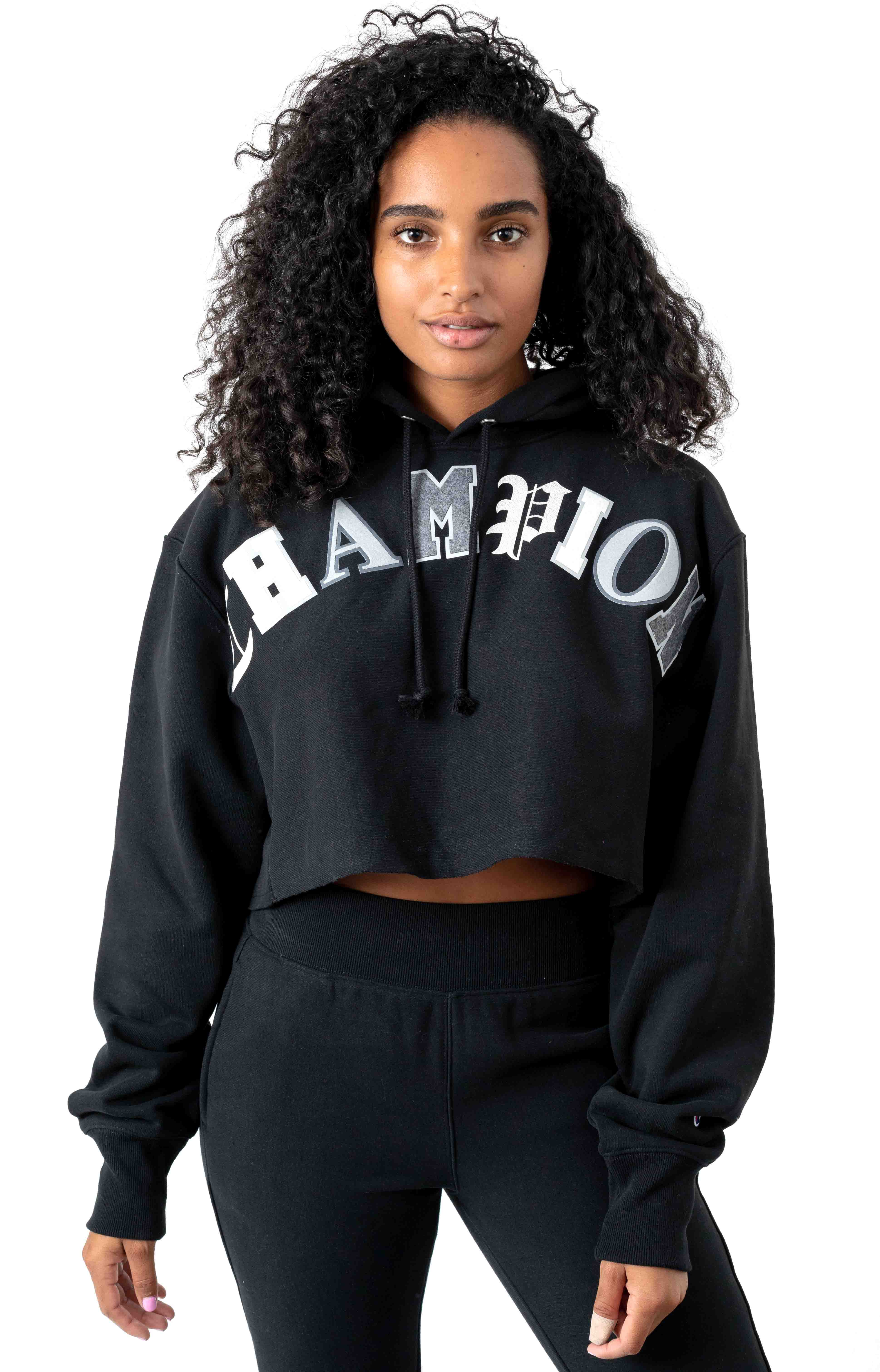 Reverse Weave Old English Lettering Cropped Cutoff Pullover Hoodie - Black