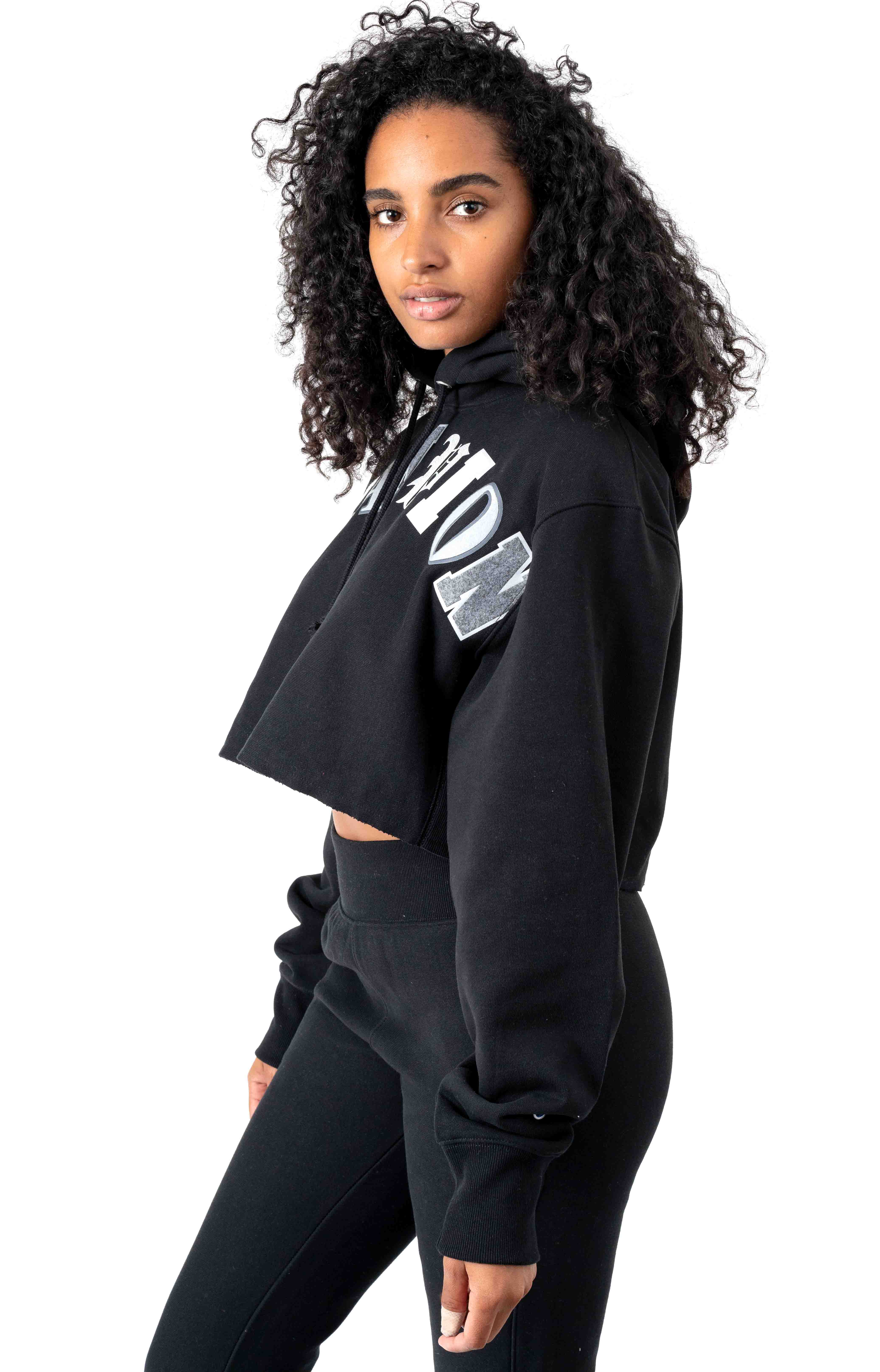 Reverse Weave Old English Lettering Cropped Cutoff Pullover Hoodie - Black 2