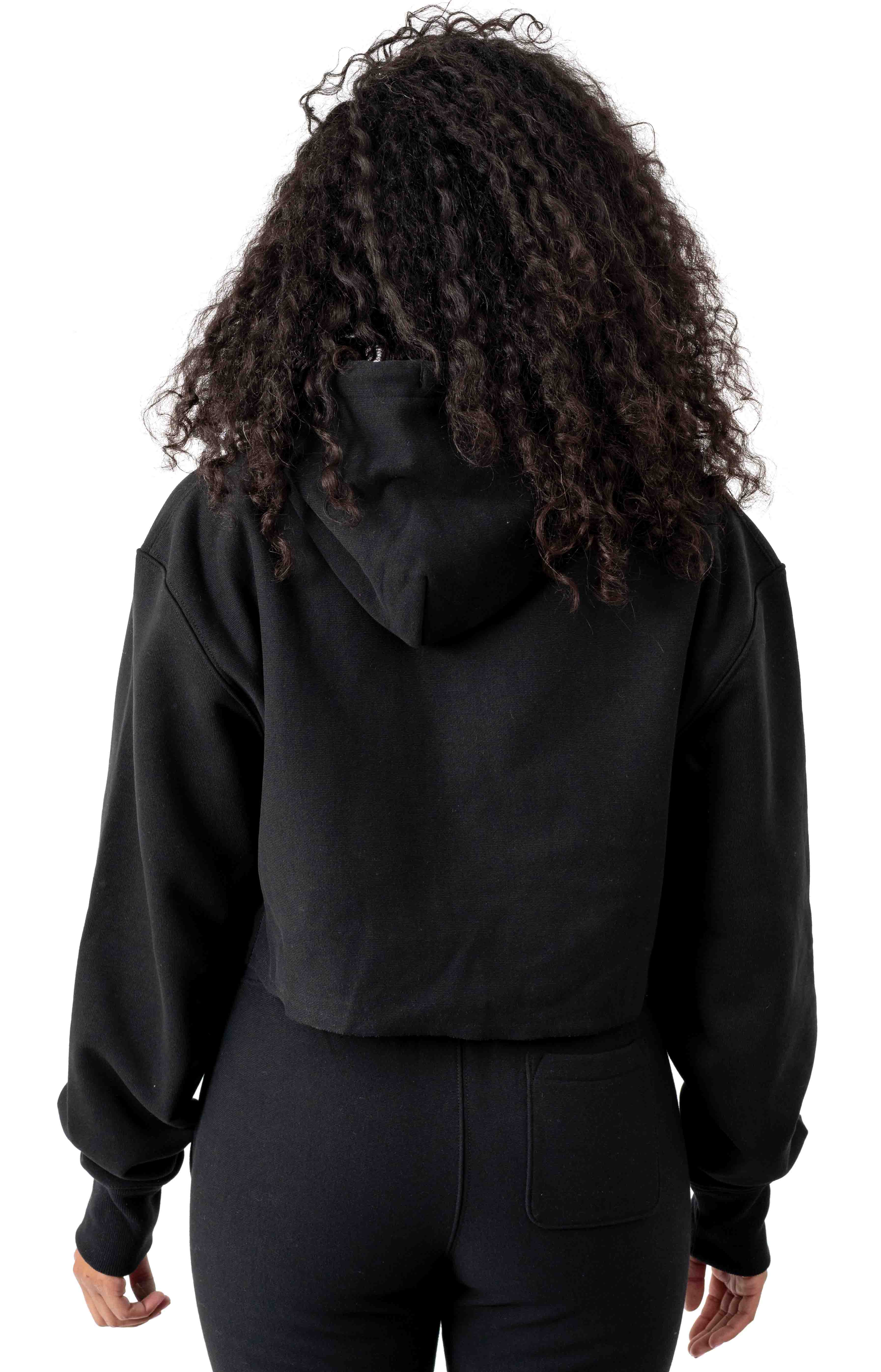 Reverse Weave Old English Lettering Cropped Cutoff Pullover Hoodie - Black 3
