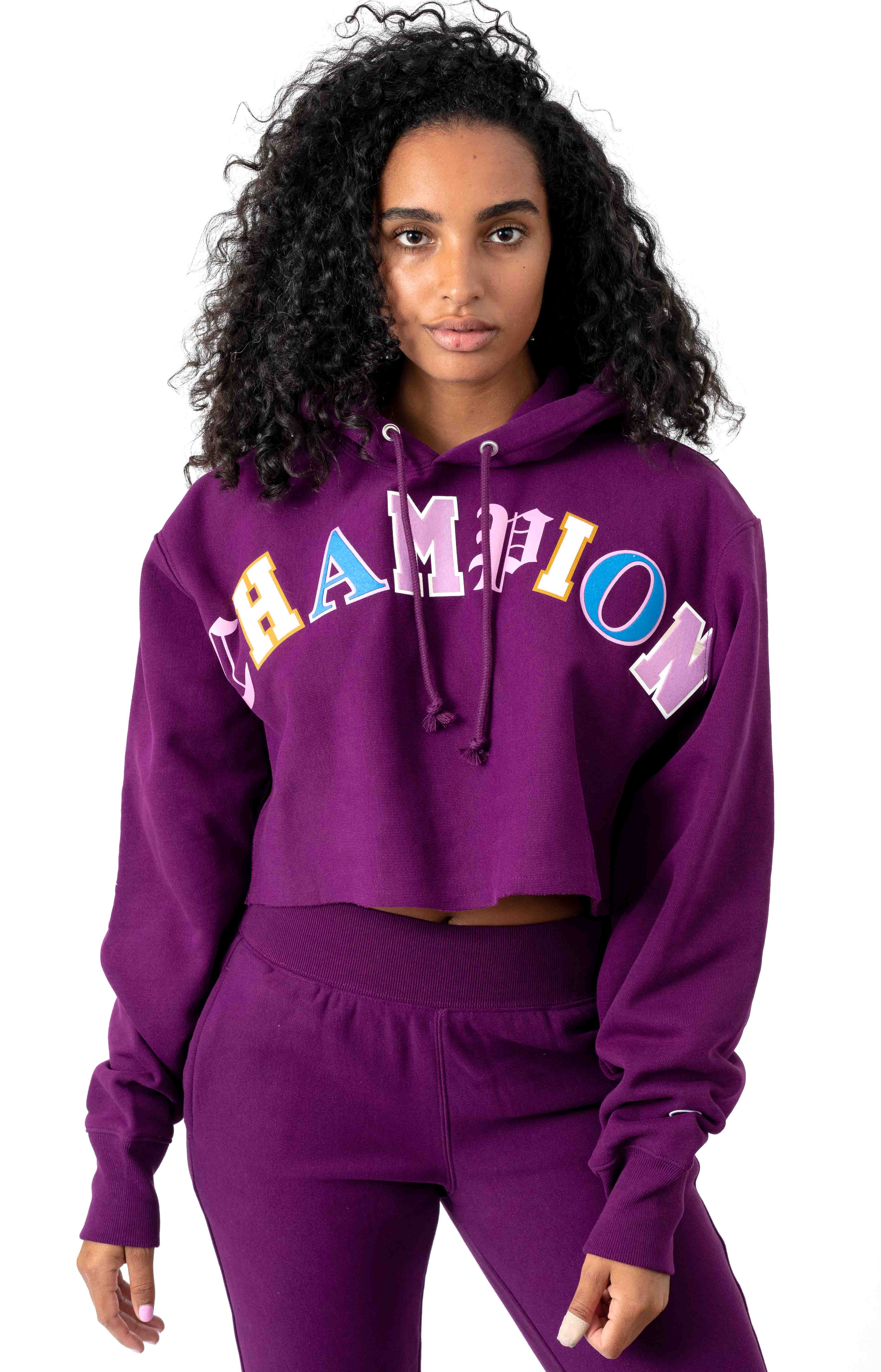 RW Old English Lettering Cropped Cutoff Pullover Hoodie - Venetian Purple