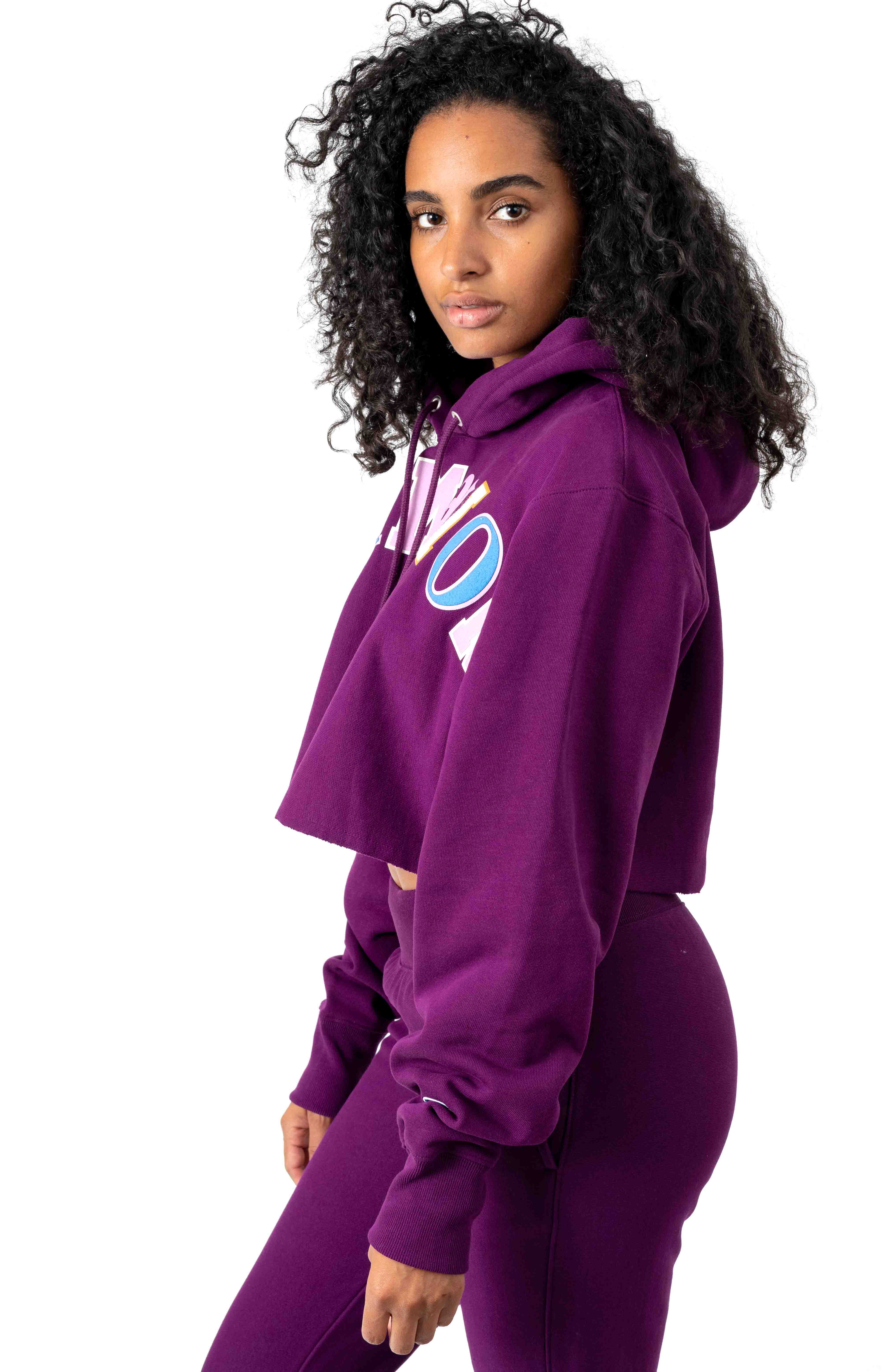 RW Old English Lettering Cropped Cutoff Pullover Hoodie - Venetian Purple 2