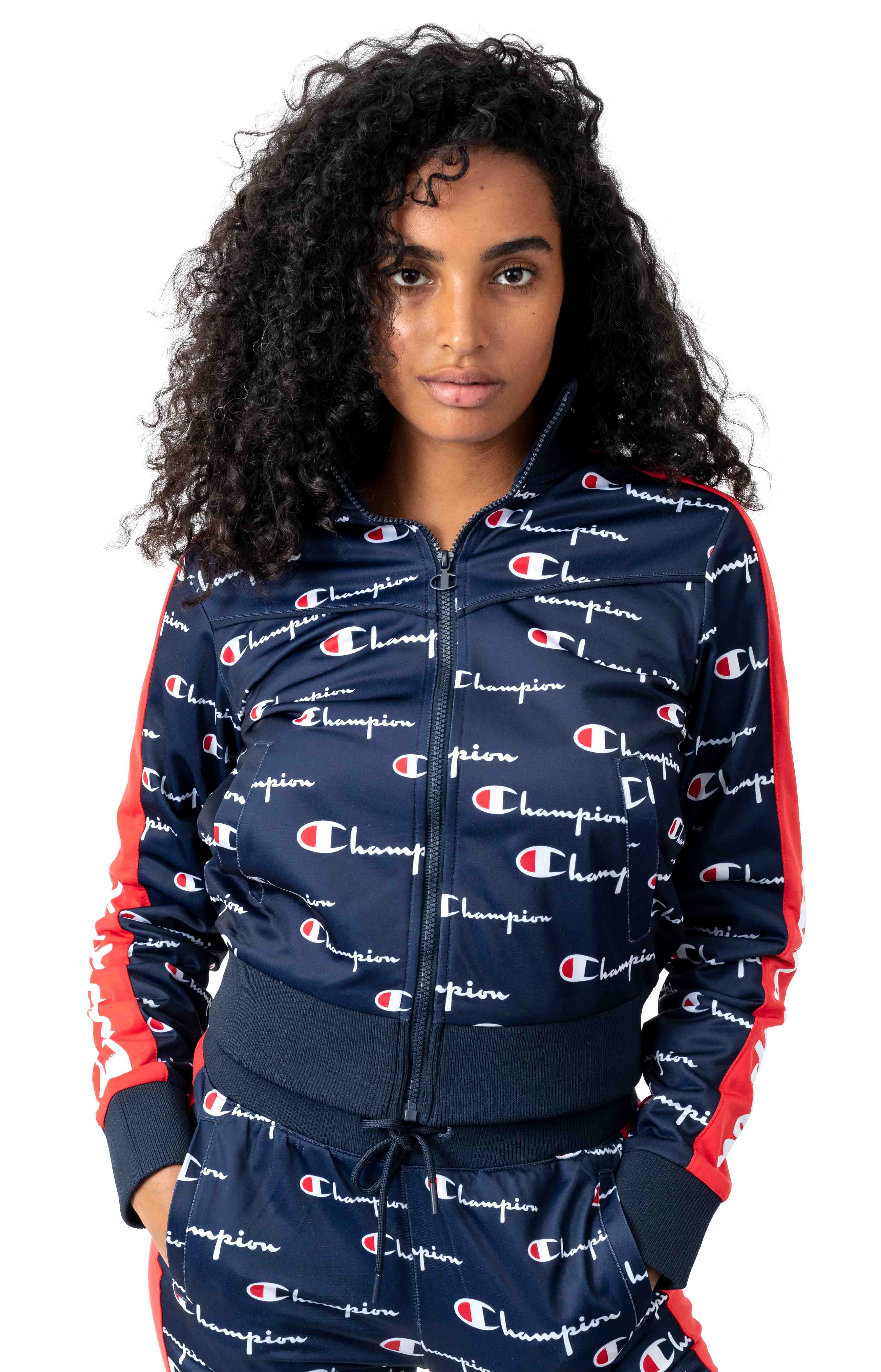 All Over Multi Scale Script Tricot Track Jacket w/ Champion Taping
