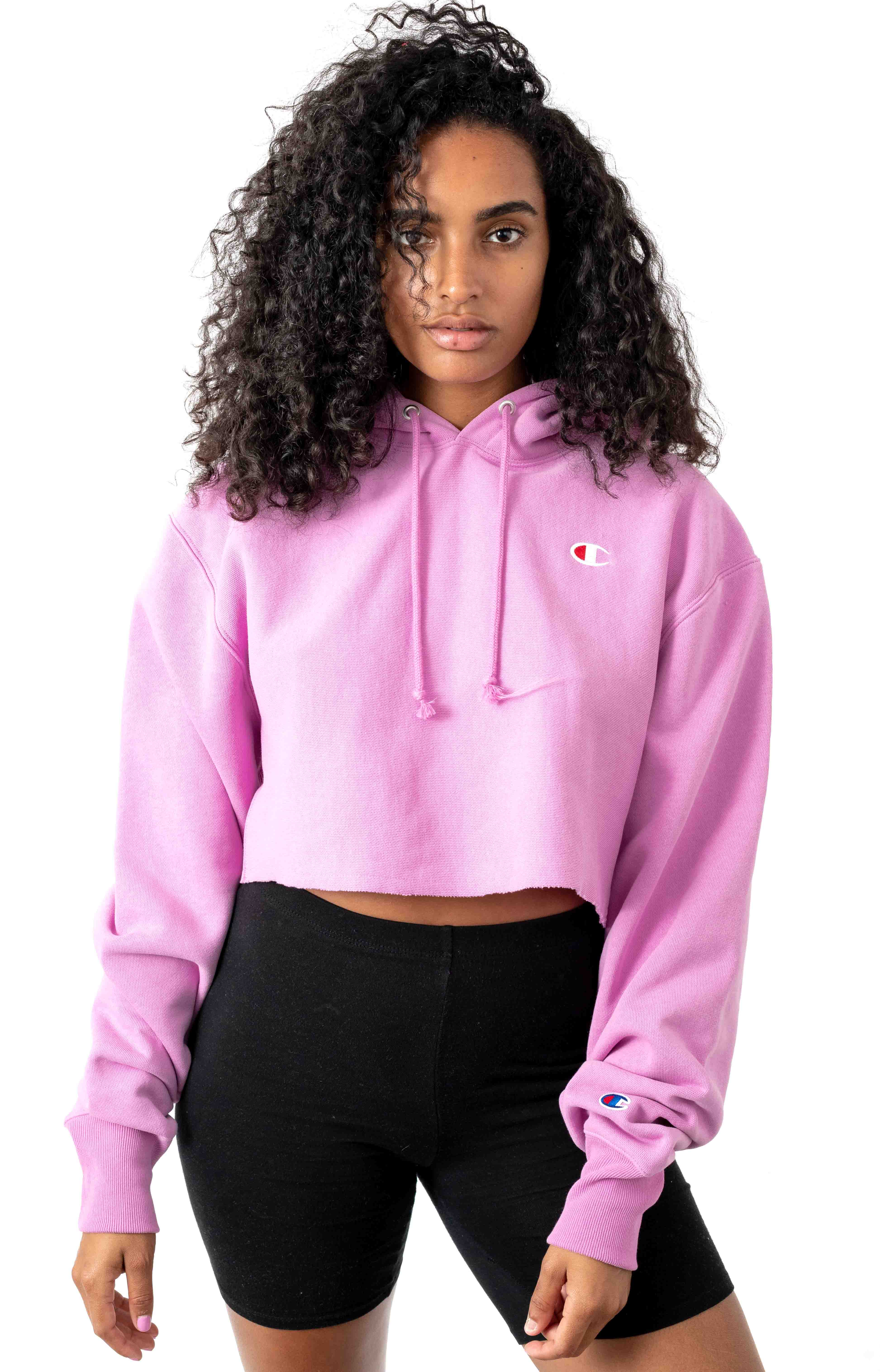 Reverse Weave Cropped Cut Off Pullover Hoodie - Pink Candy
