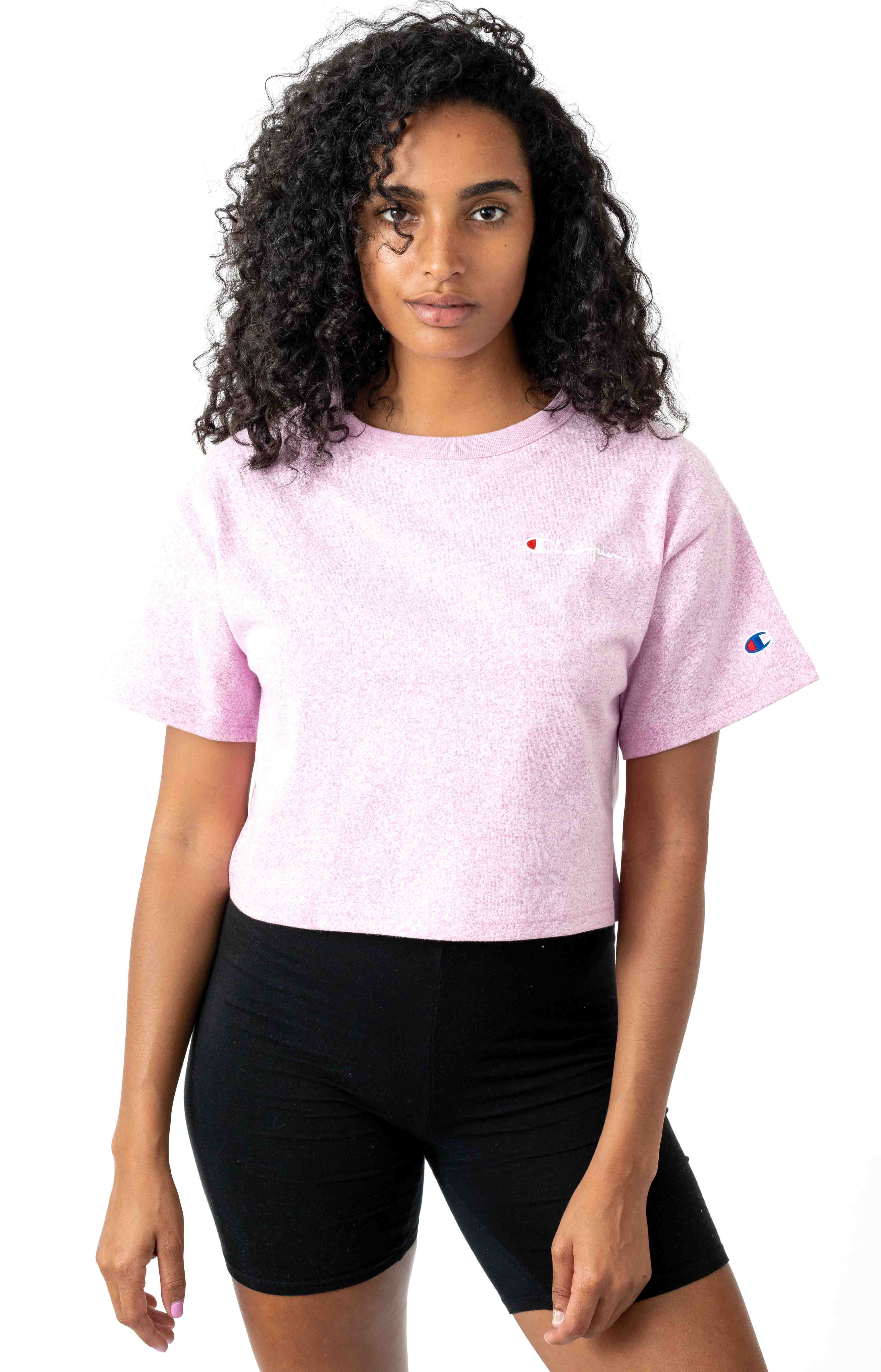 Heritage Embroidered Script Cropped Tee - Paper Orchid Heather