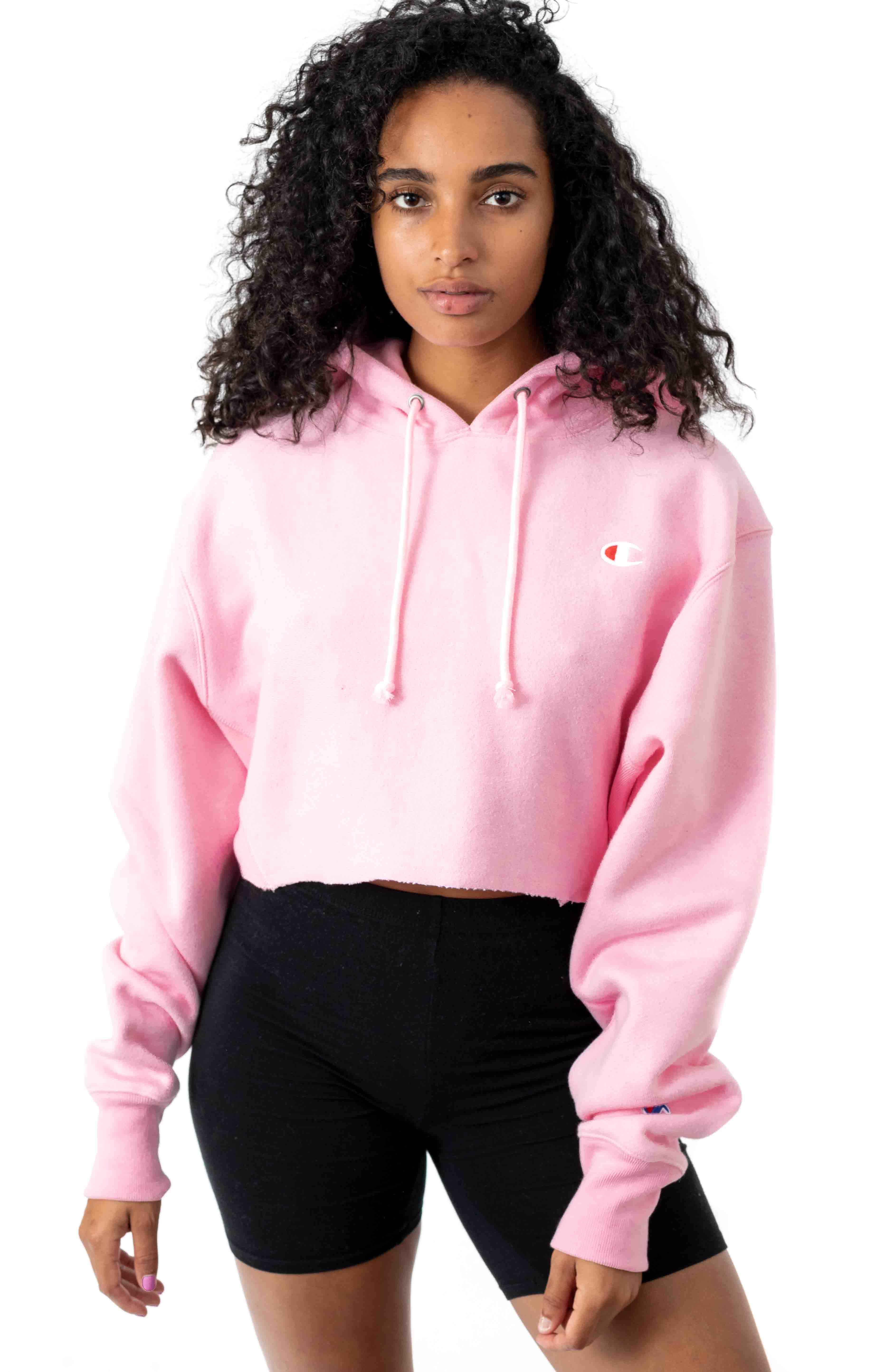 Reverse Weave Cropped Cut Off Pullover Hoodie - Paper Orchid