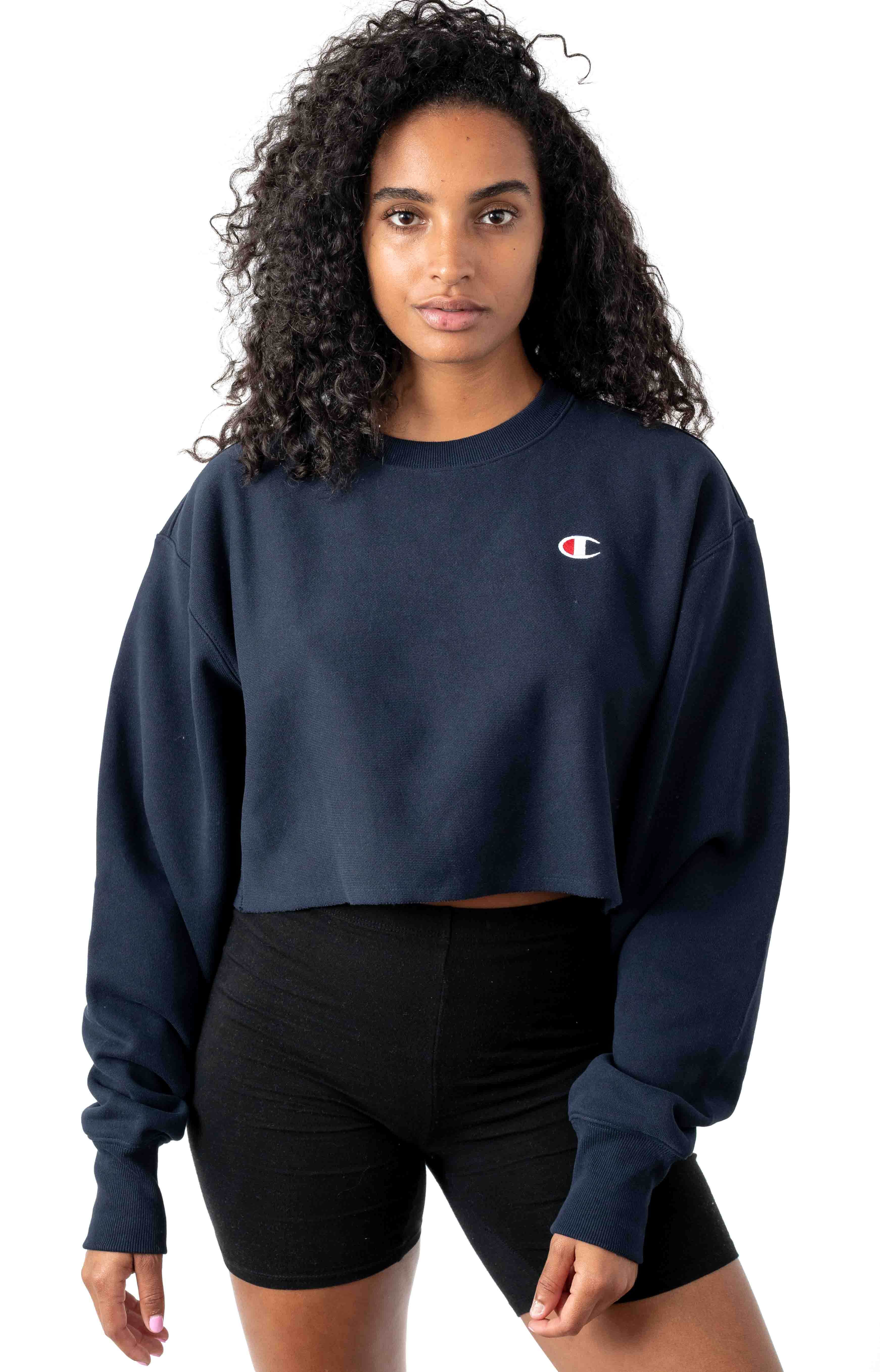 Reverse Weave Cropped Cut Off Crewneck - Navy