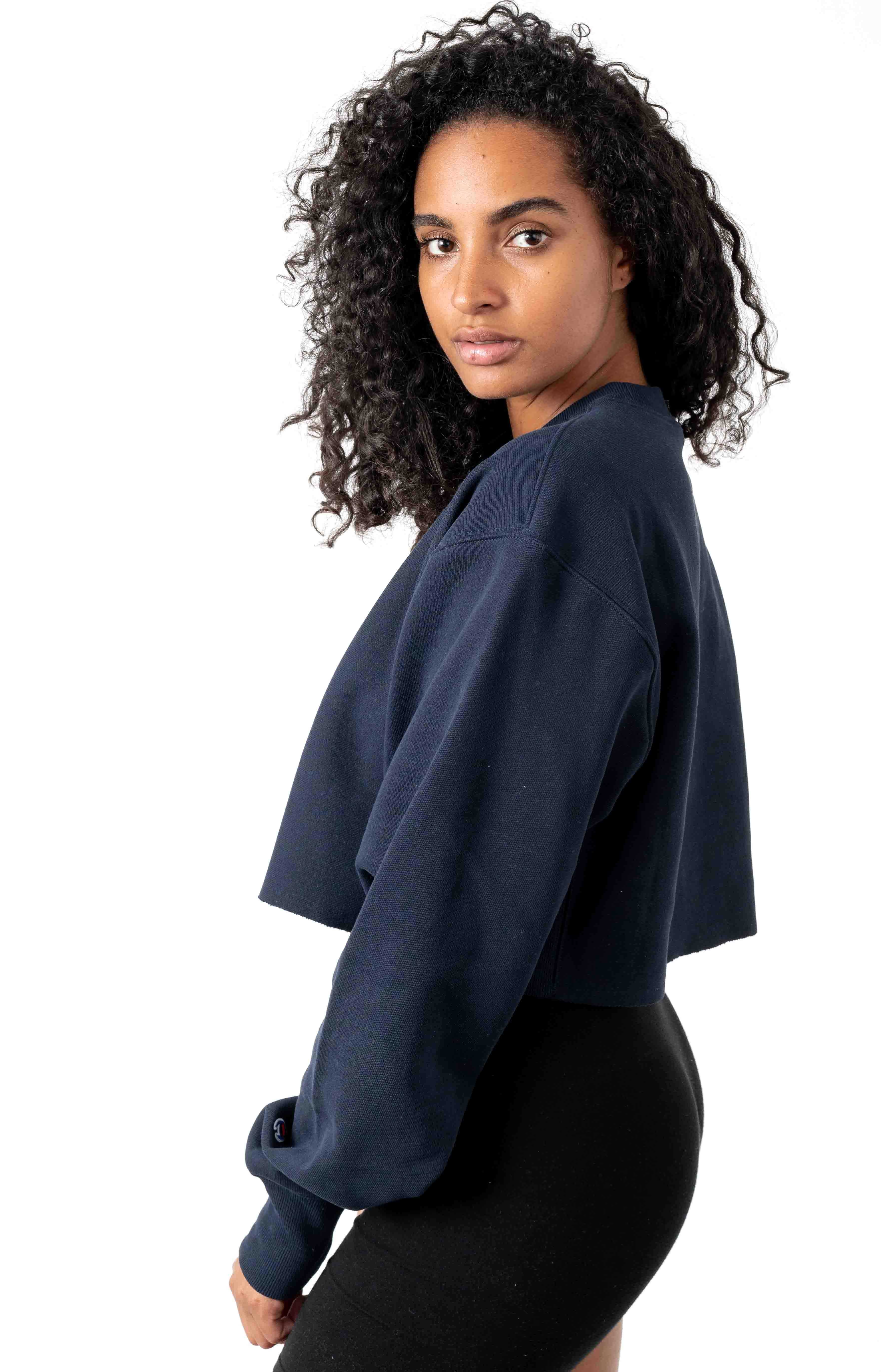 Reverse Weave Cropped Cut Off Crewneck - Navy 2