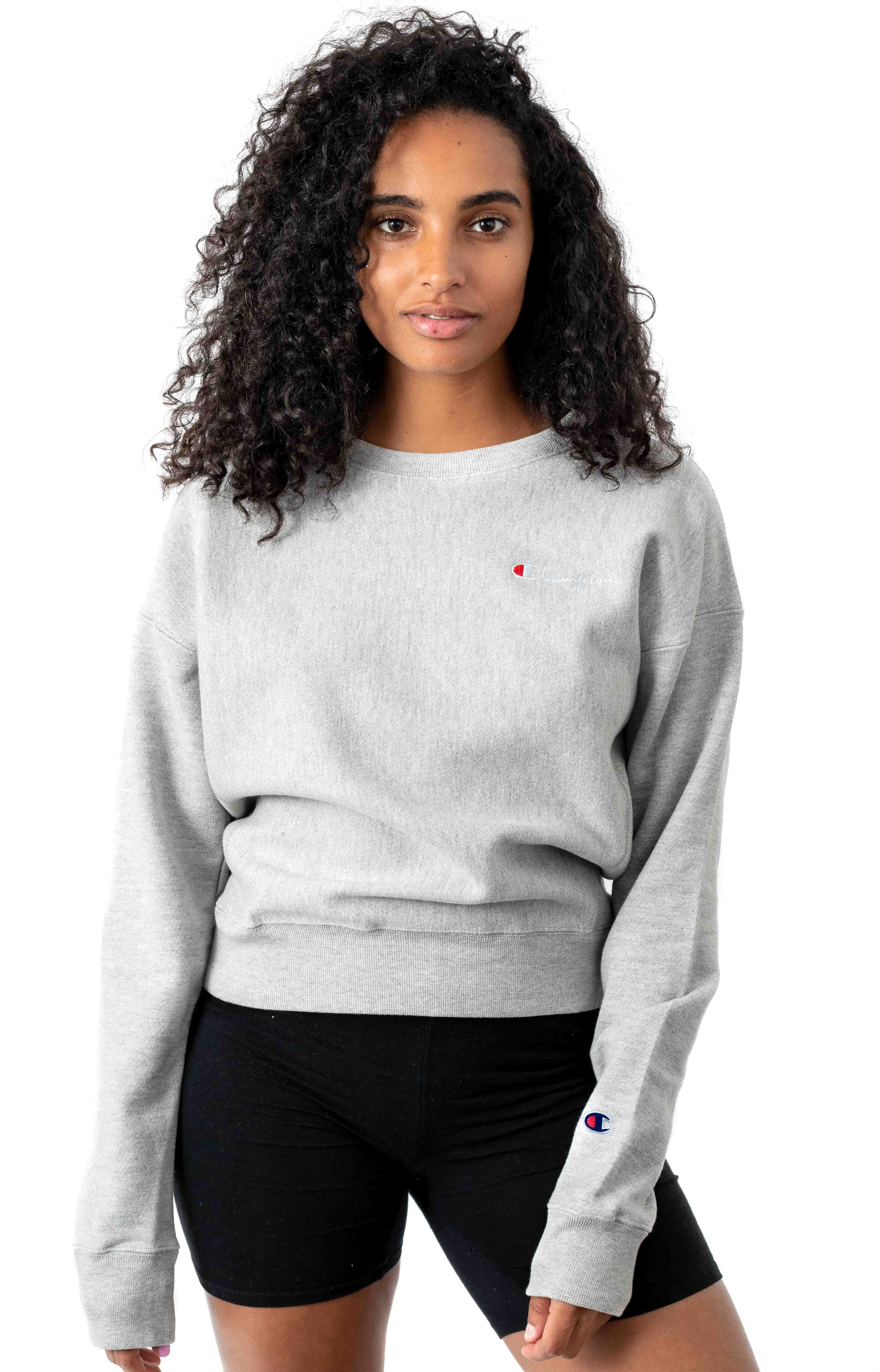Reverse Weave Embroidered Script Crewneck - Oxford Grey