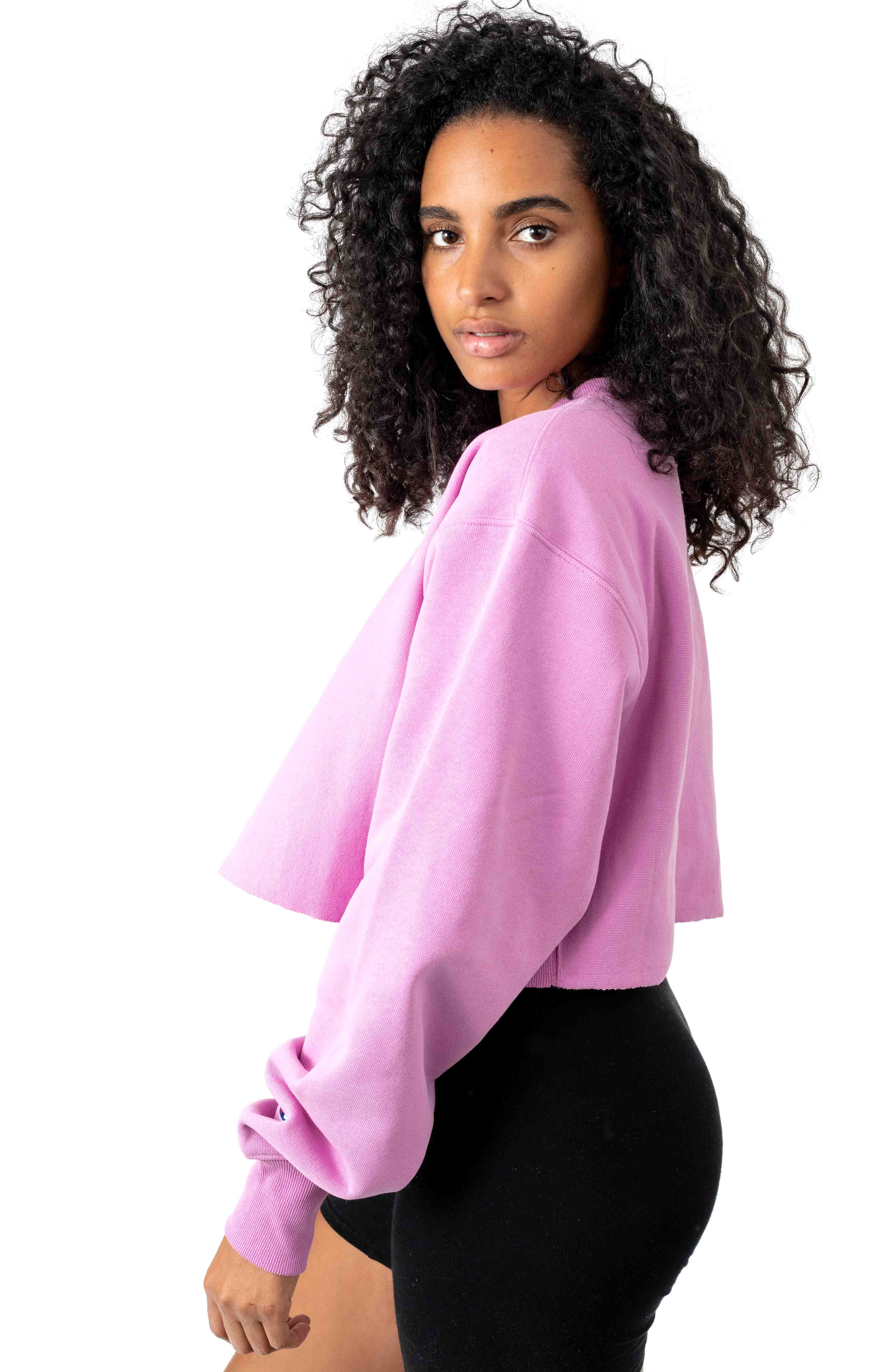 Reverse Weave Cropped Cut Off Crewneck - Paper Orchid 2