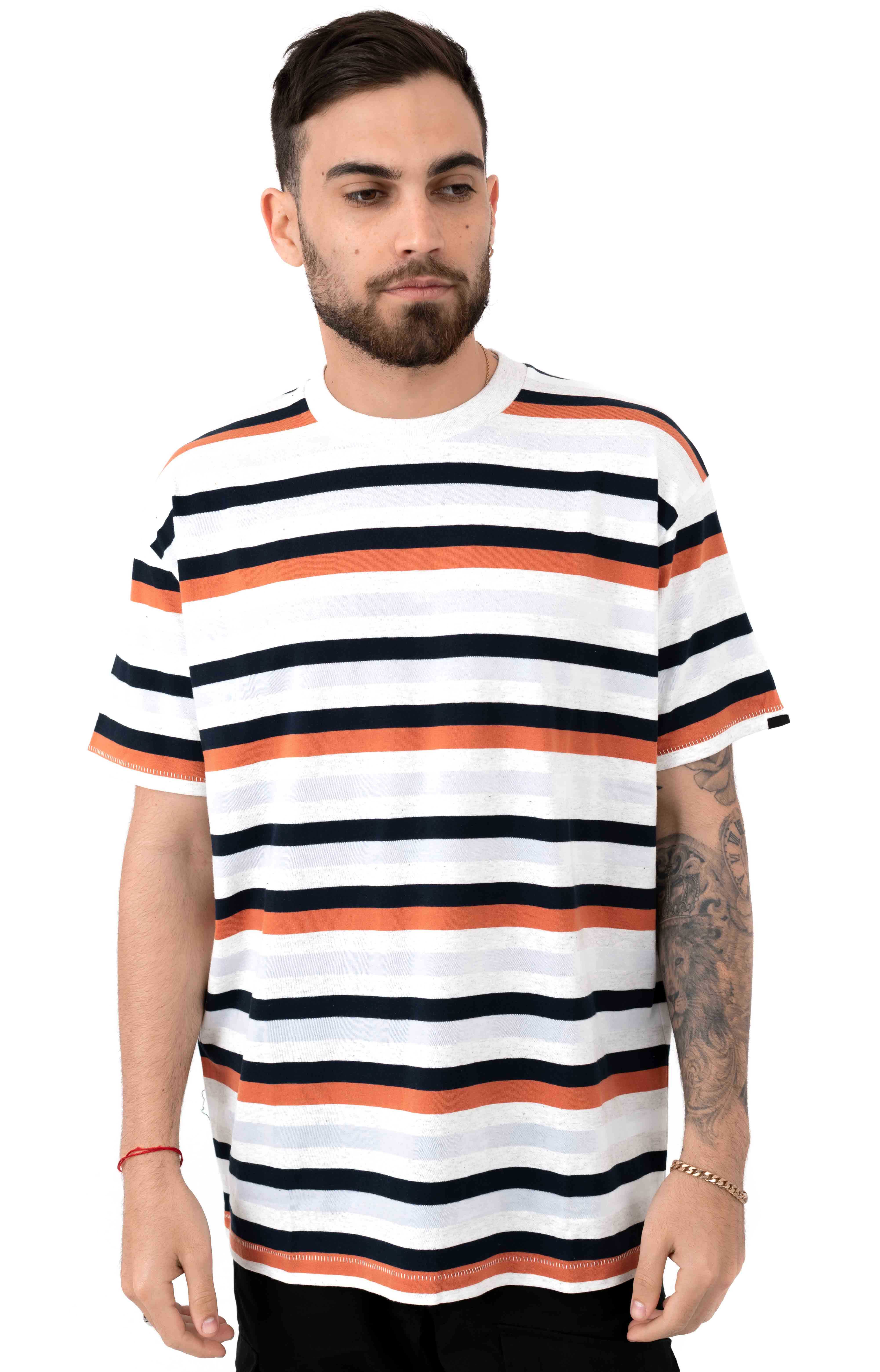 Quad Stripe T-Shirt - White Marle