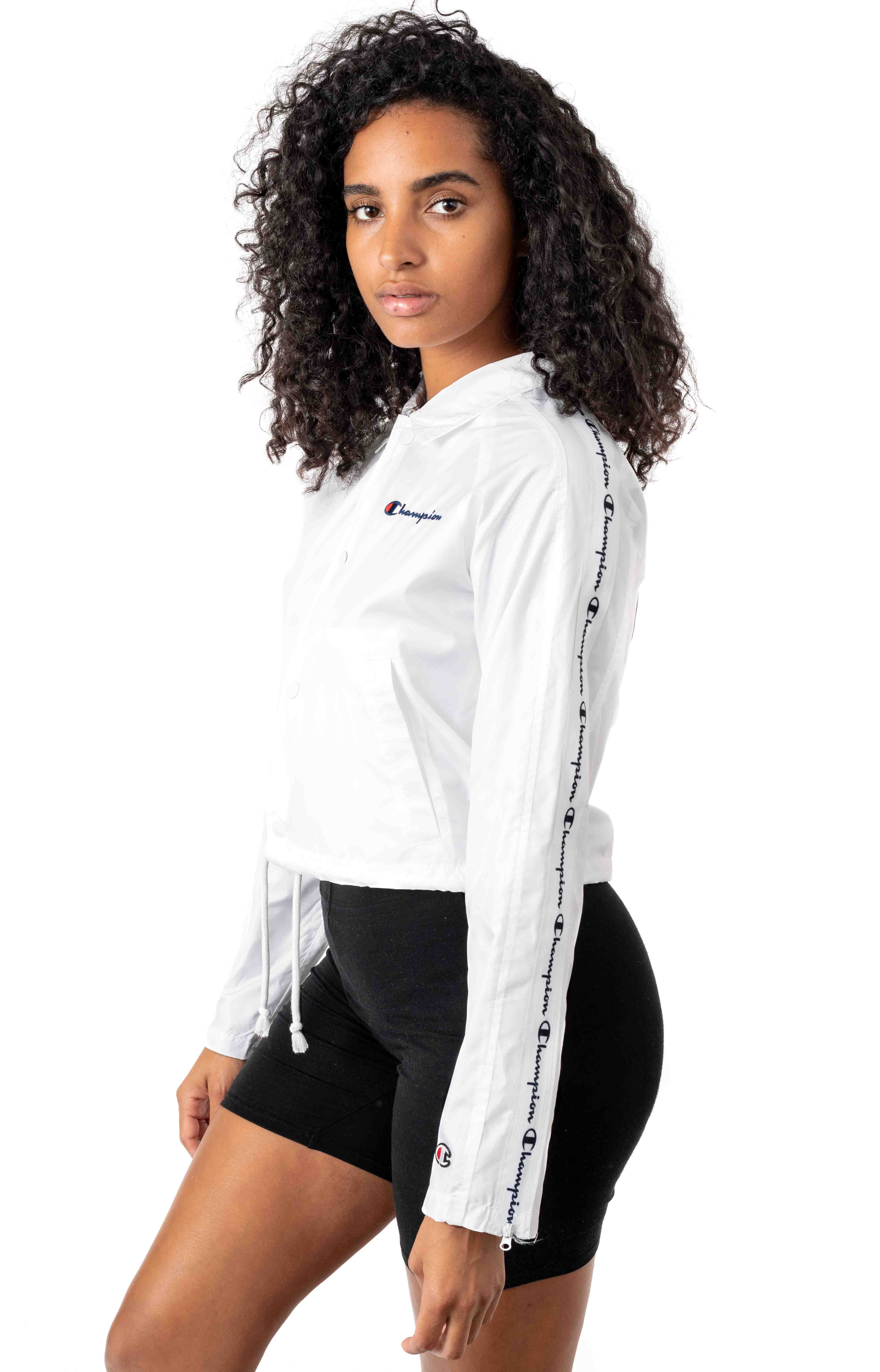 Oversized C Cropped Coaches Jacket - White  2