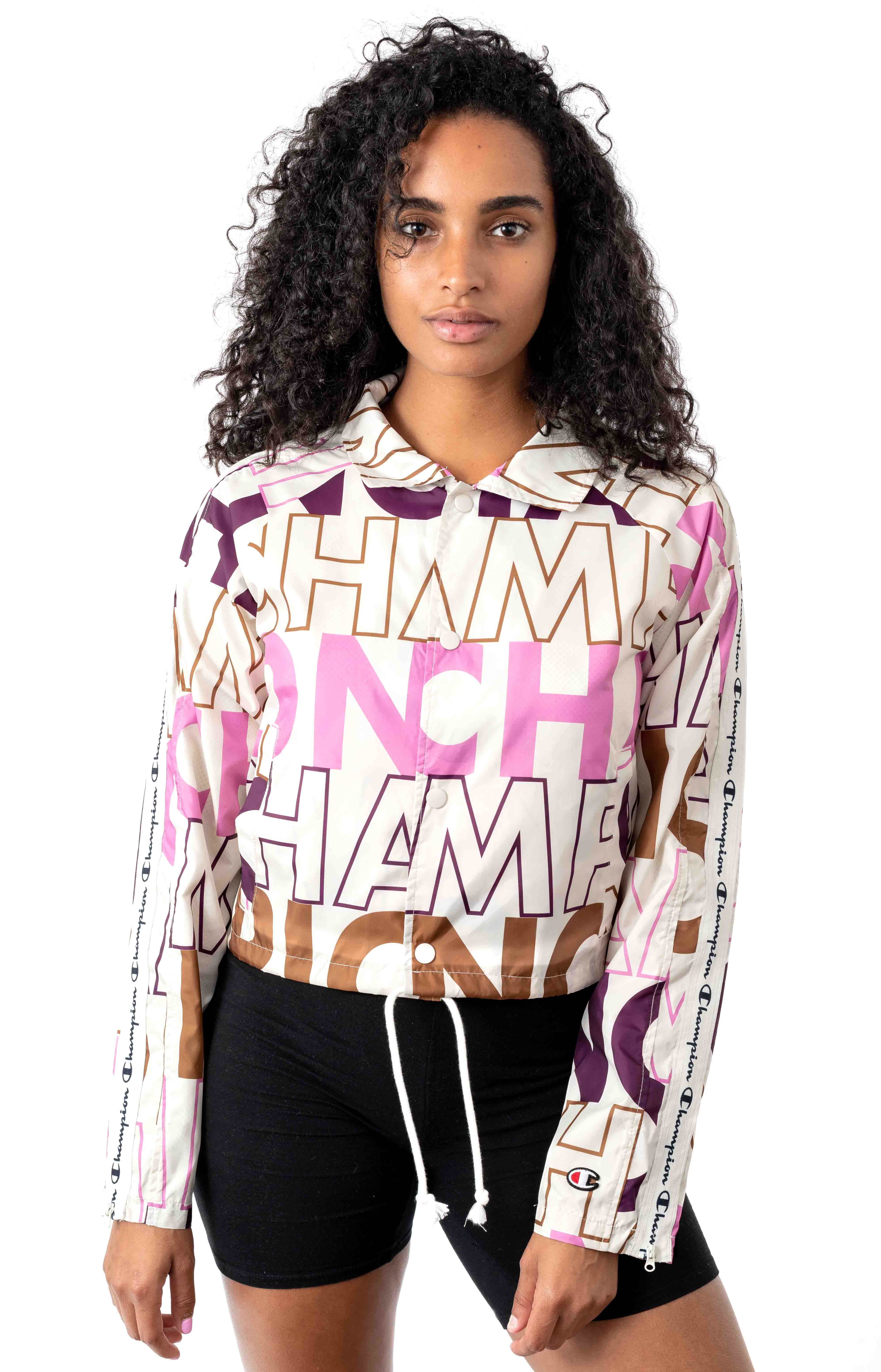 Big Block Text Mix All Over Cropped Coaches Jacket - Chalk White
