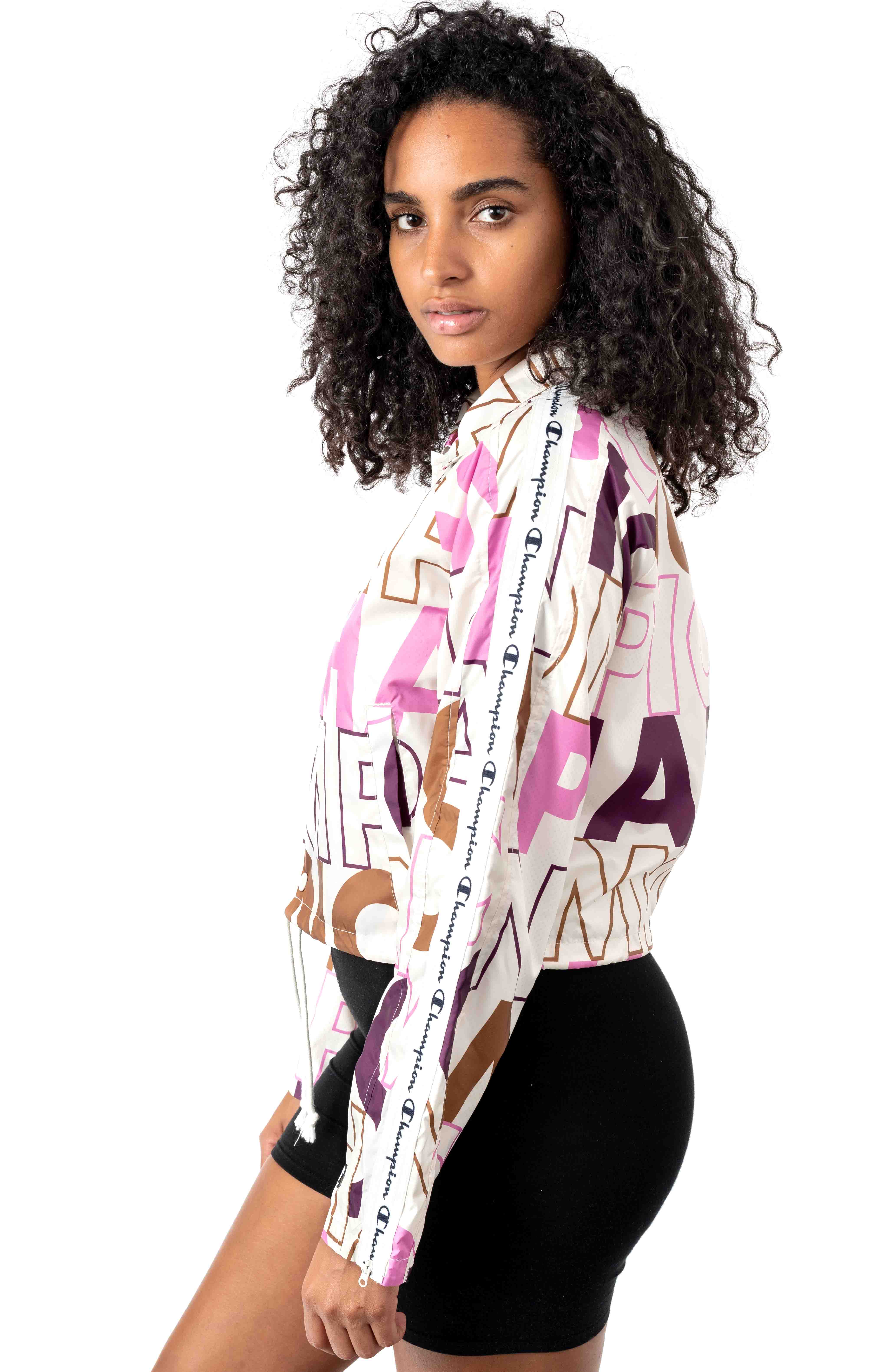 Big Block Text Mix All Over Cropped Coaches Jacket - Chalk White  2