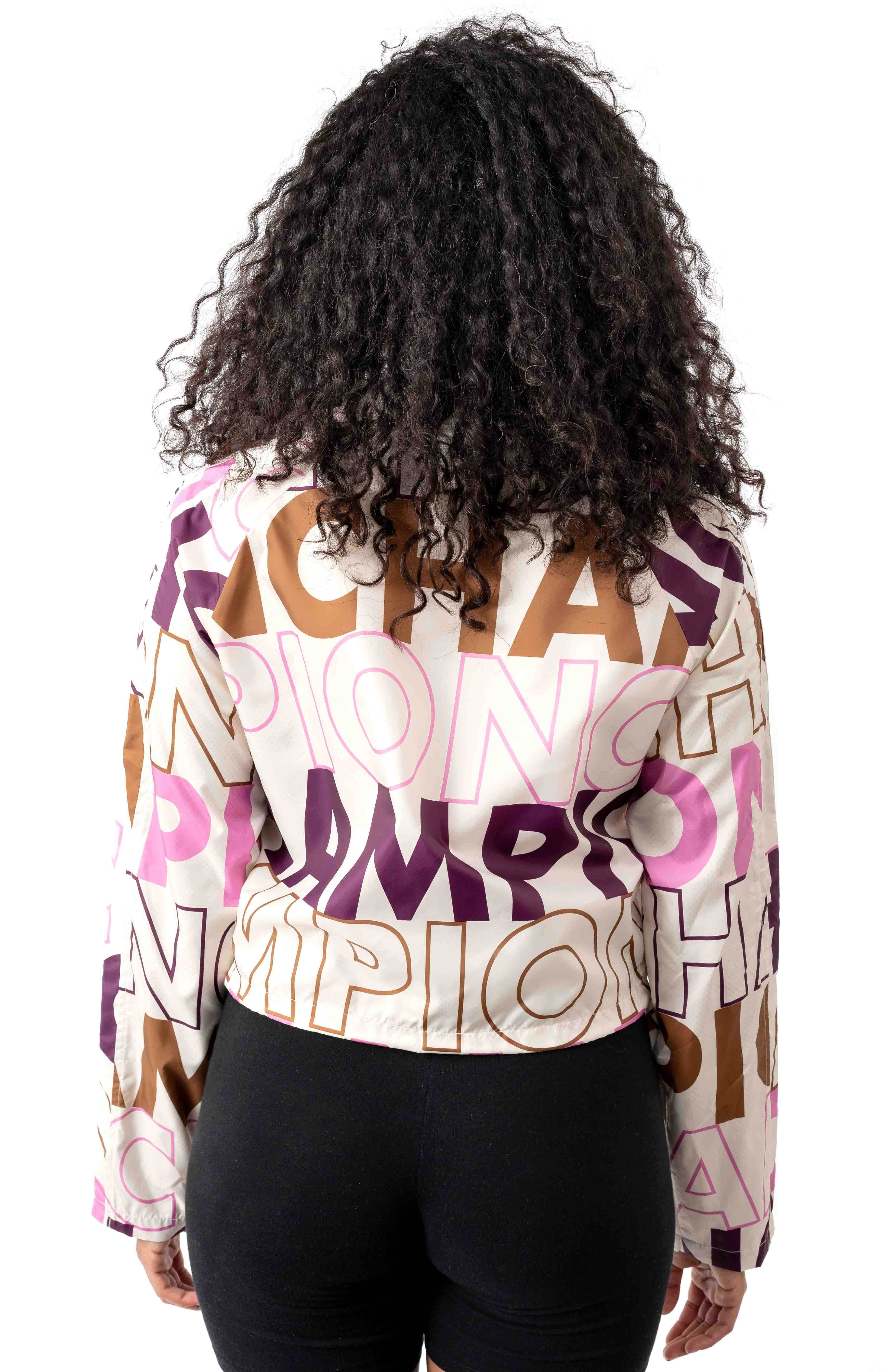 Big Block Text Mix All Over Cropped Coaches Jacket - Chalk White  3