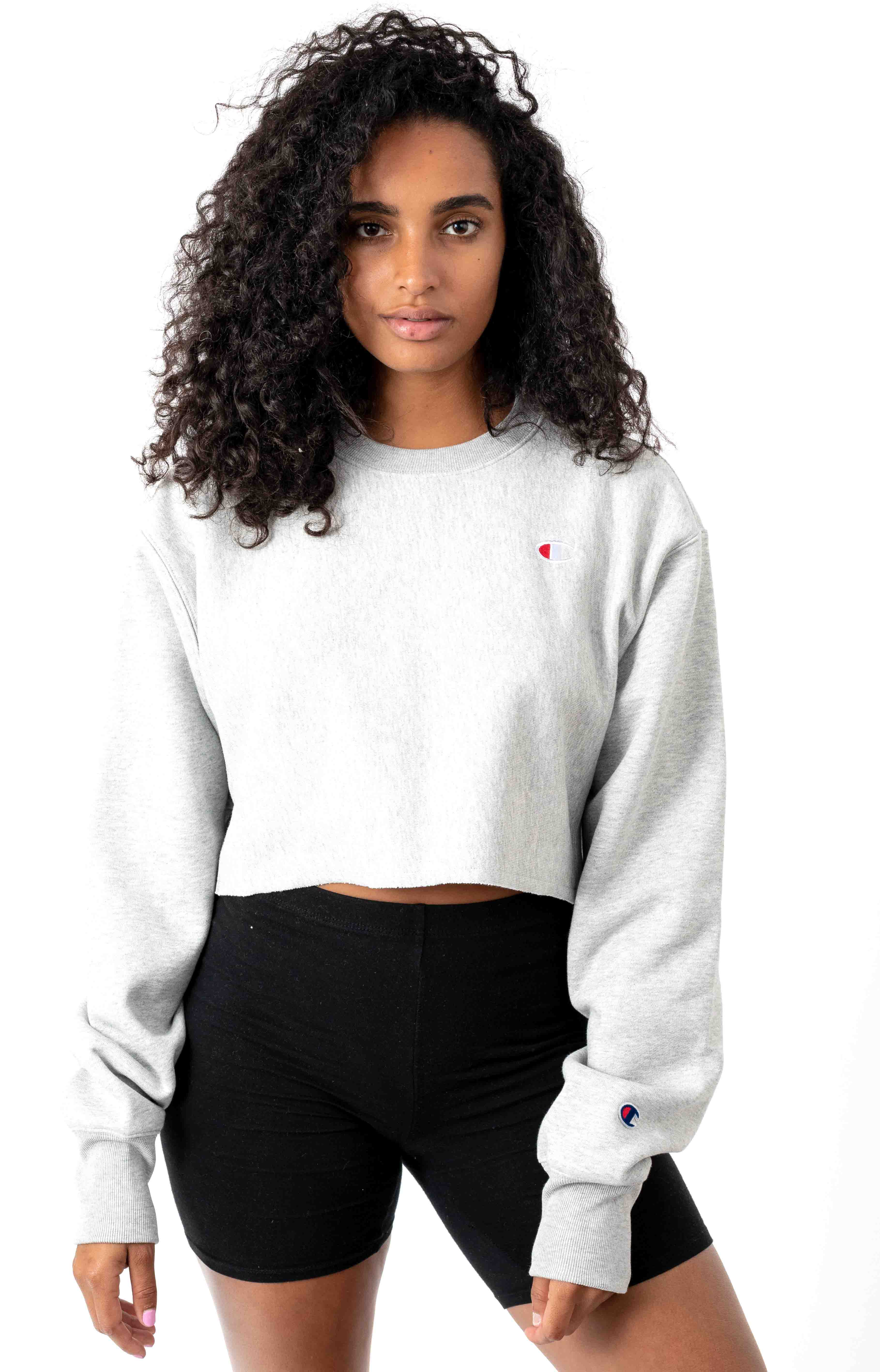 Reverse Weave Cropped Cut Off Crewneck - Oxford Grey