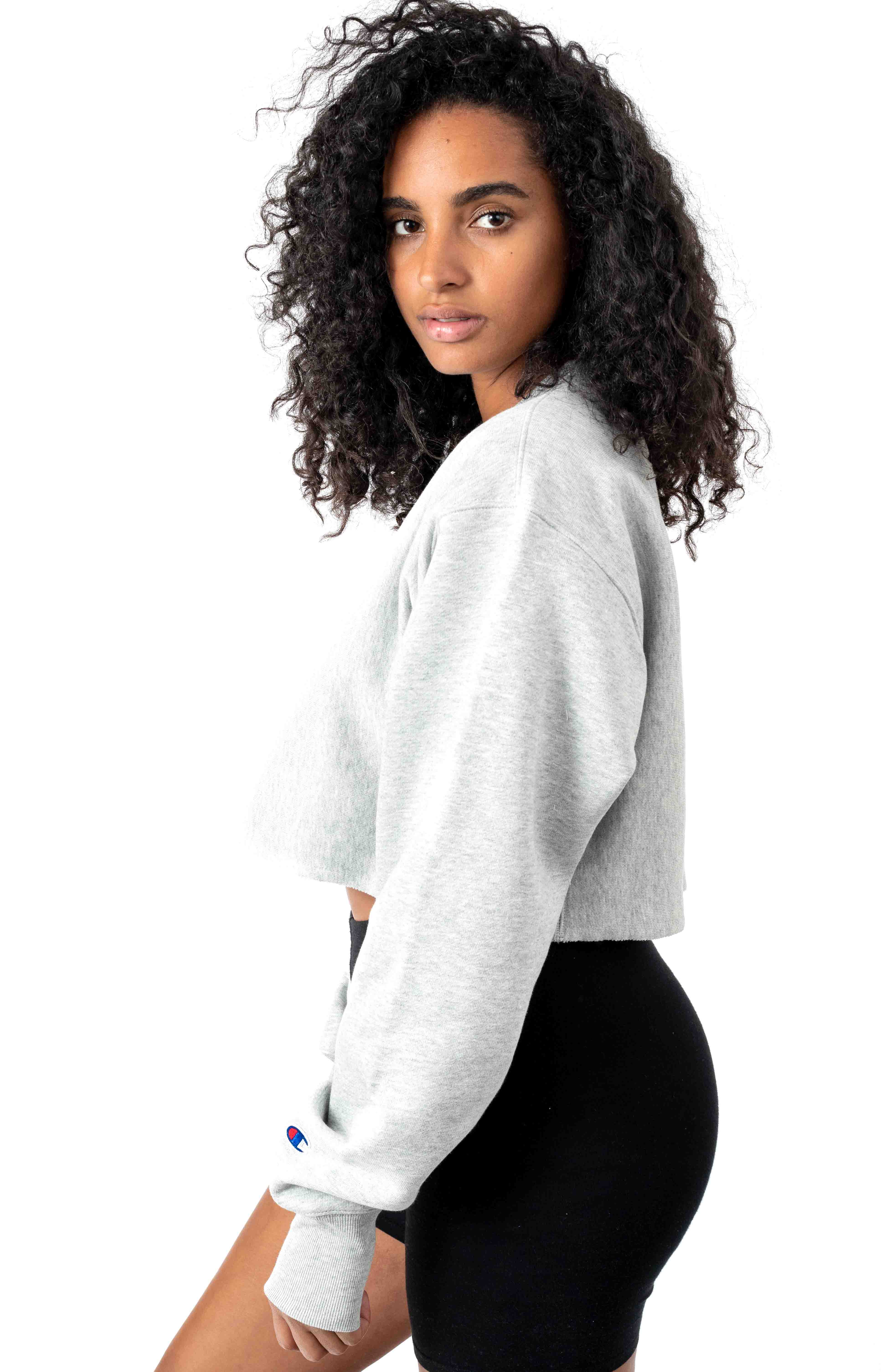 Reverse Weave Cropped Cut Off Crewneck - Oxford Grey 2