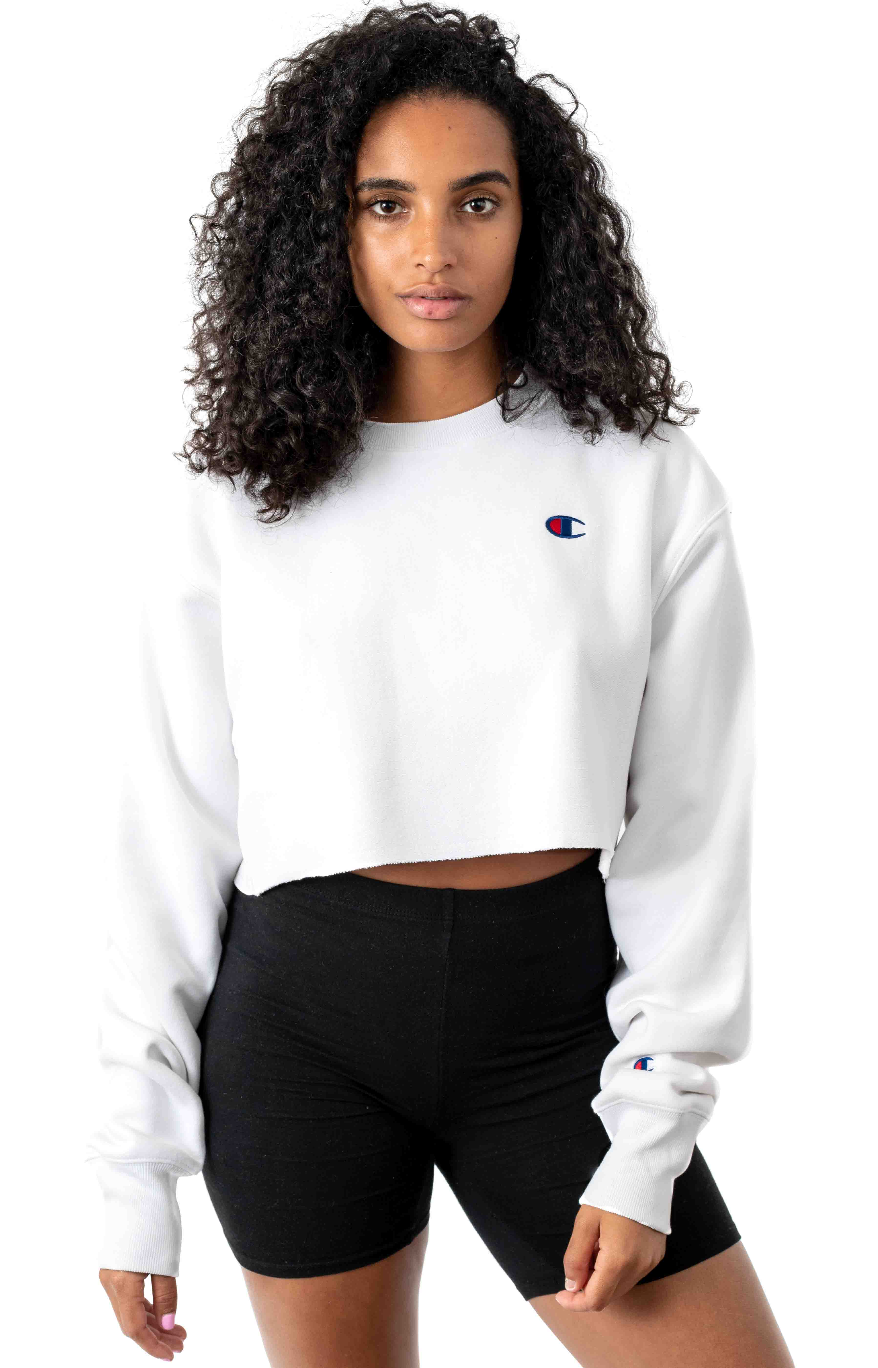 Reverse Weave Cropped Cut Off Crewneck - White