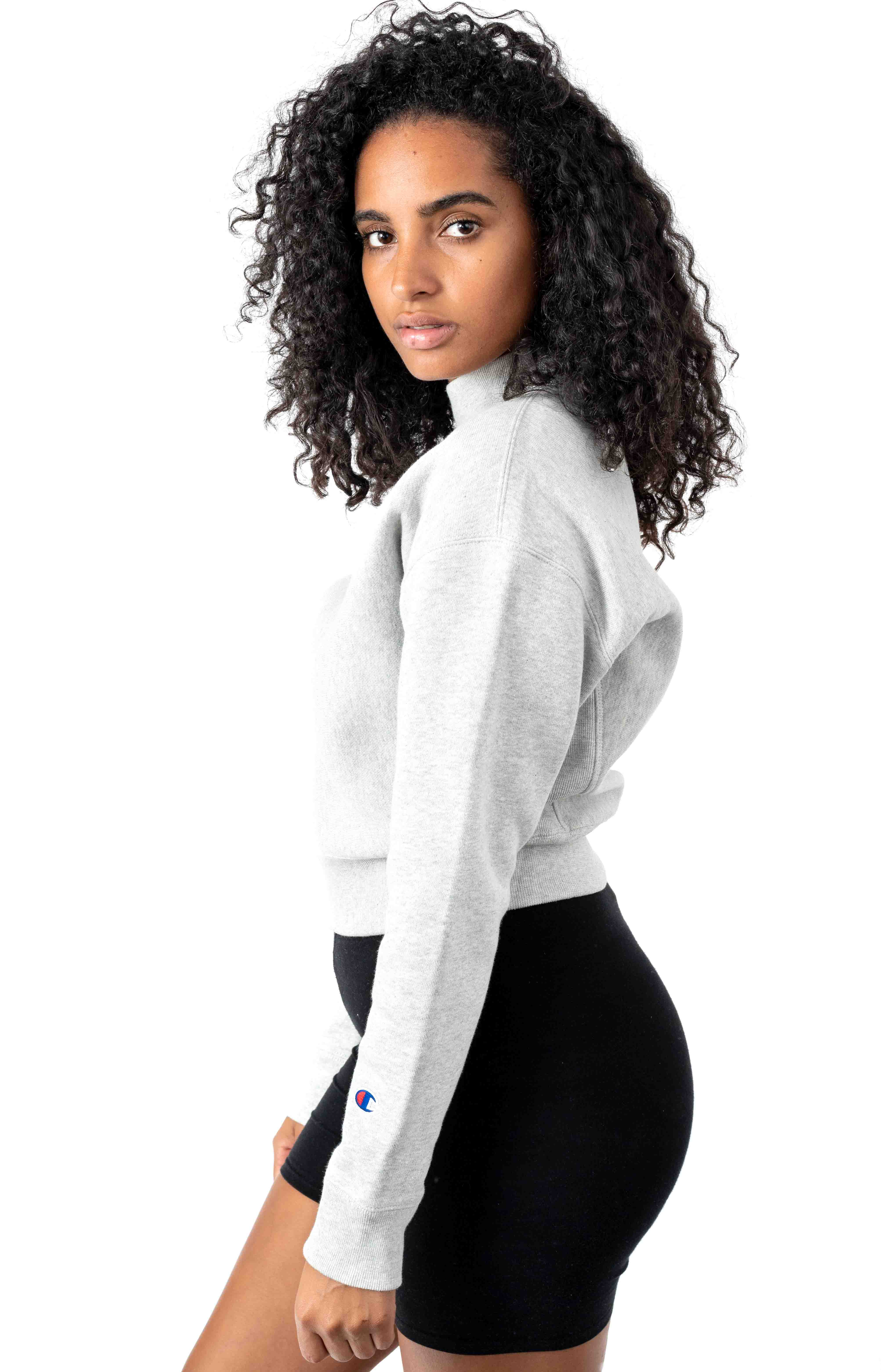 Reverse Weave Mock Neck Crop Crewneck - Oxford Grey 2