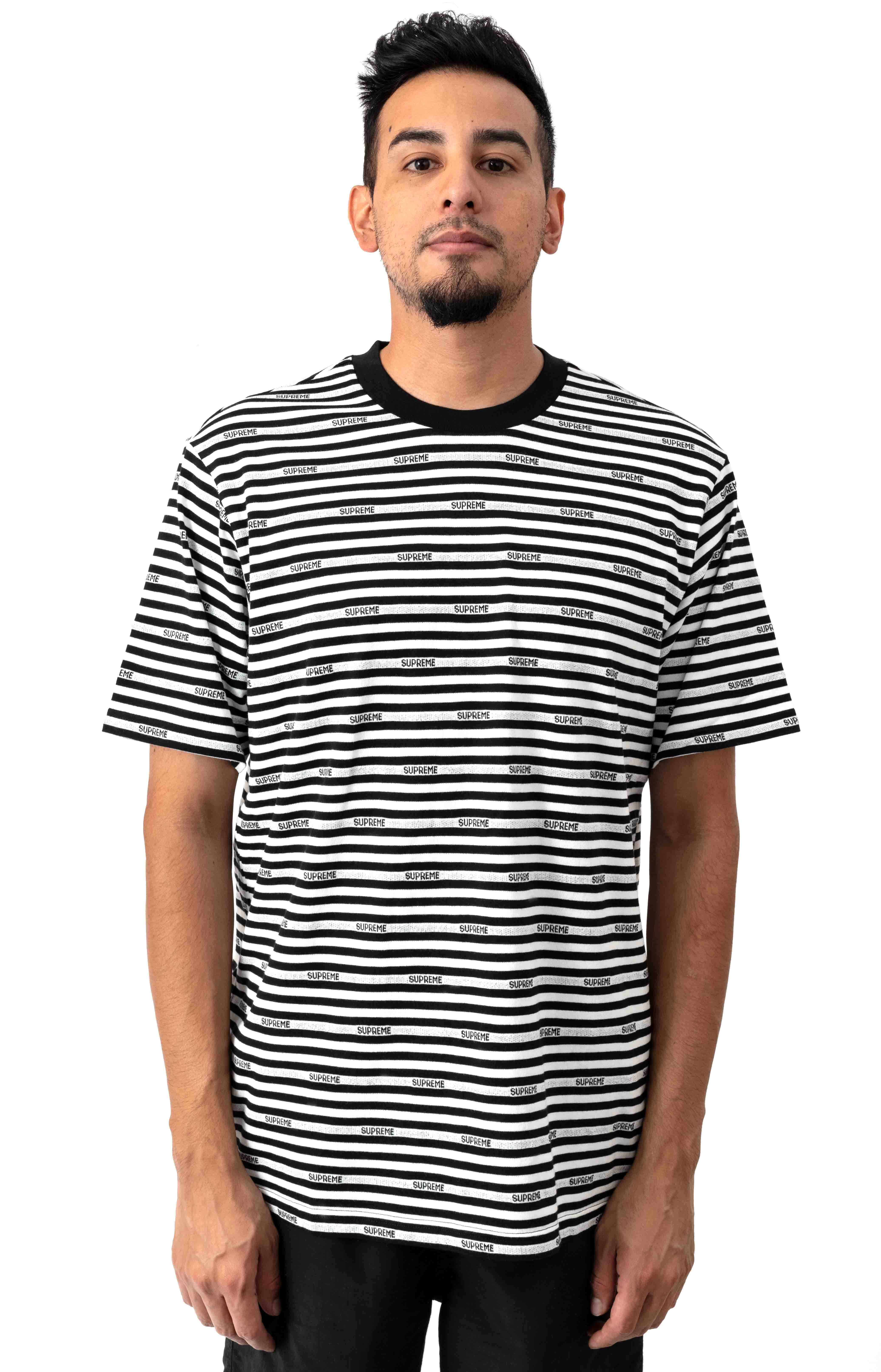 Logo Stripe T-Shirt - Black
