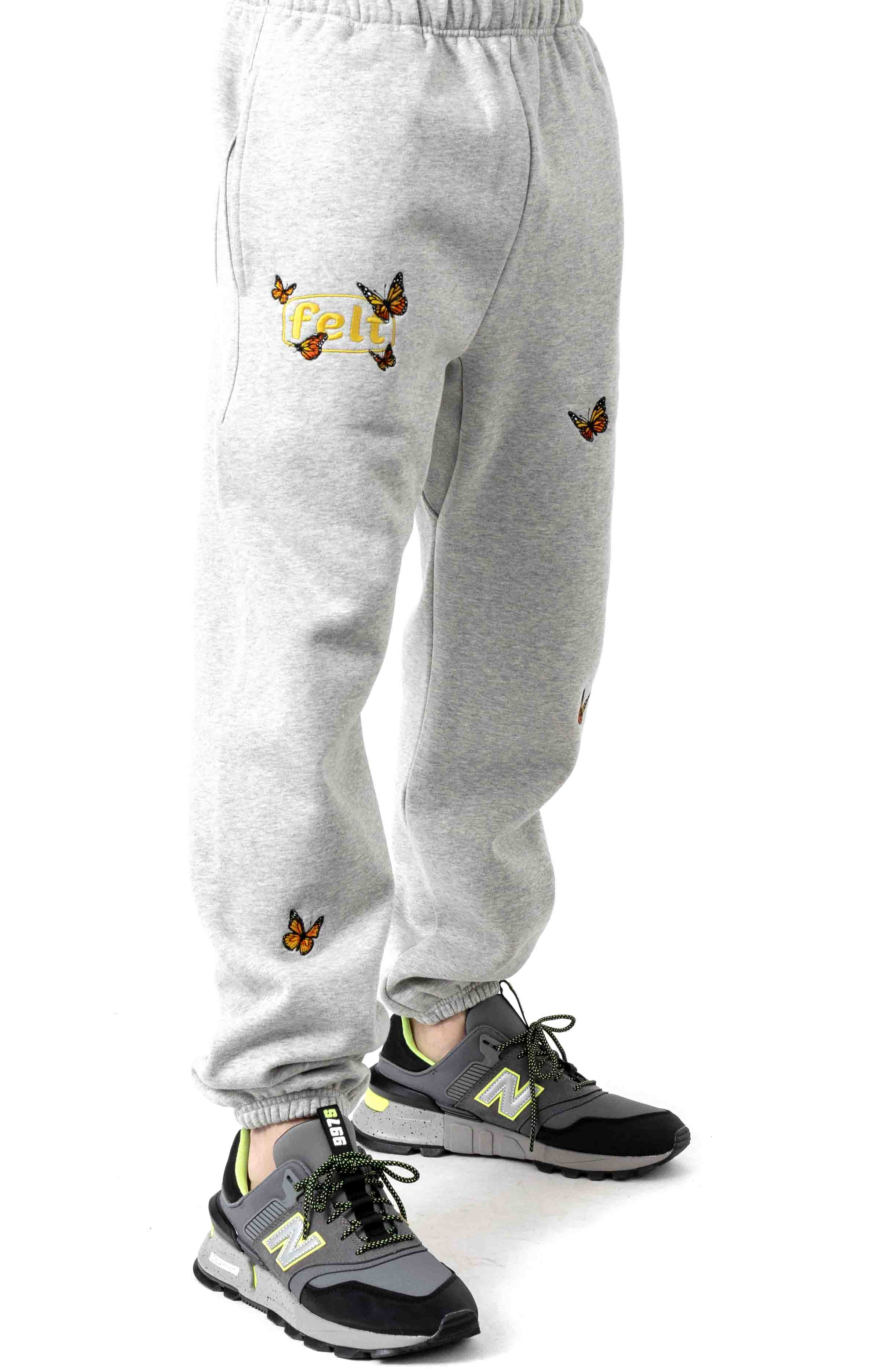 Butterfly Embroidered Sweatpants - Grey