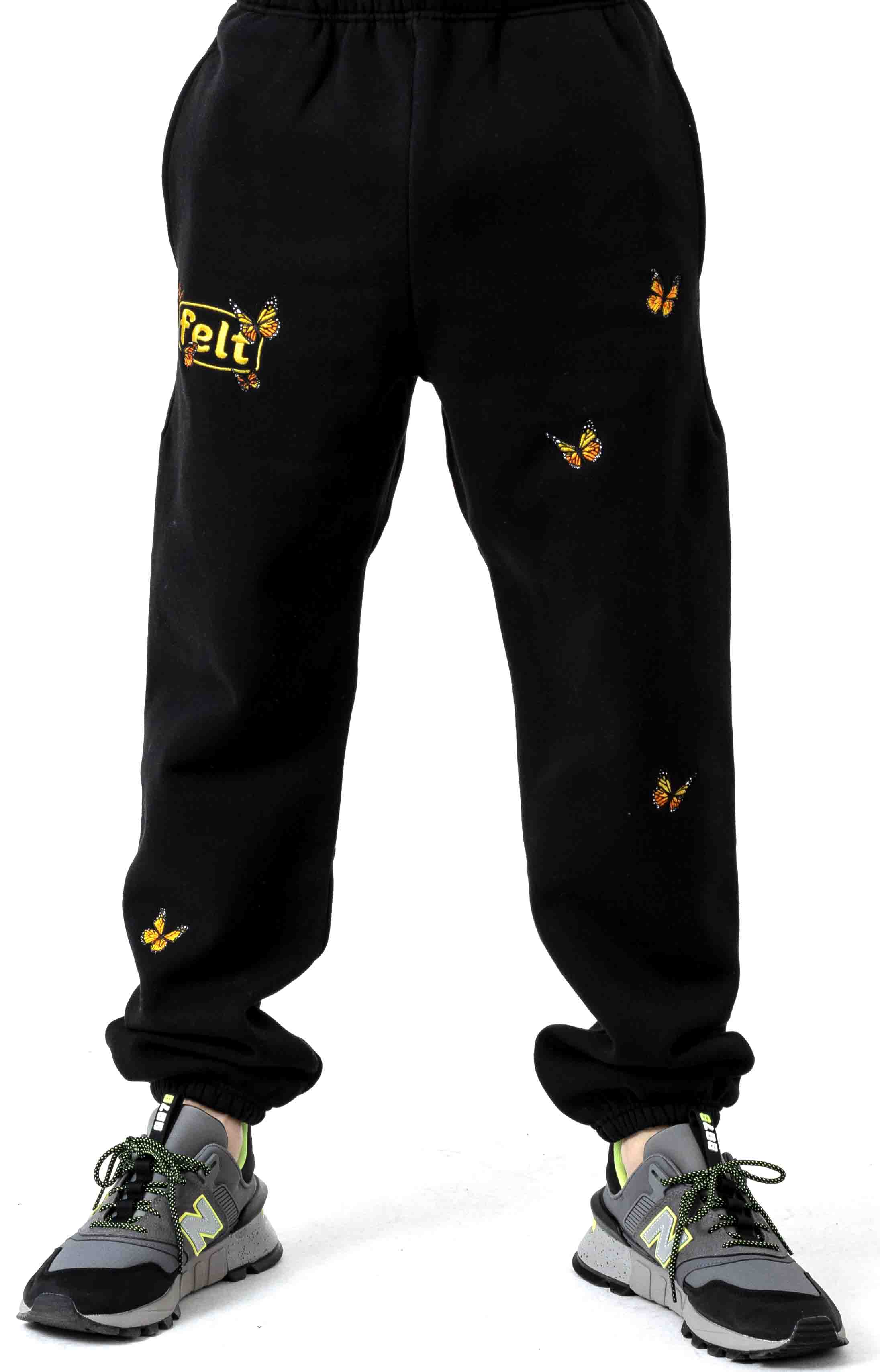Butterfly Embroidered Sweatpants - Black 2