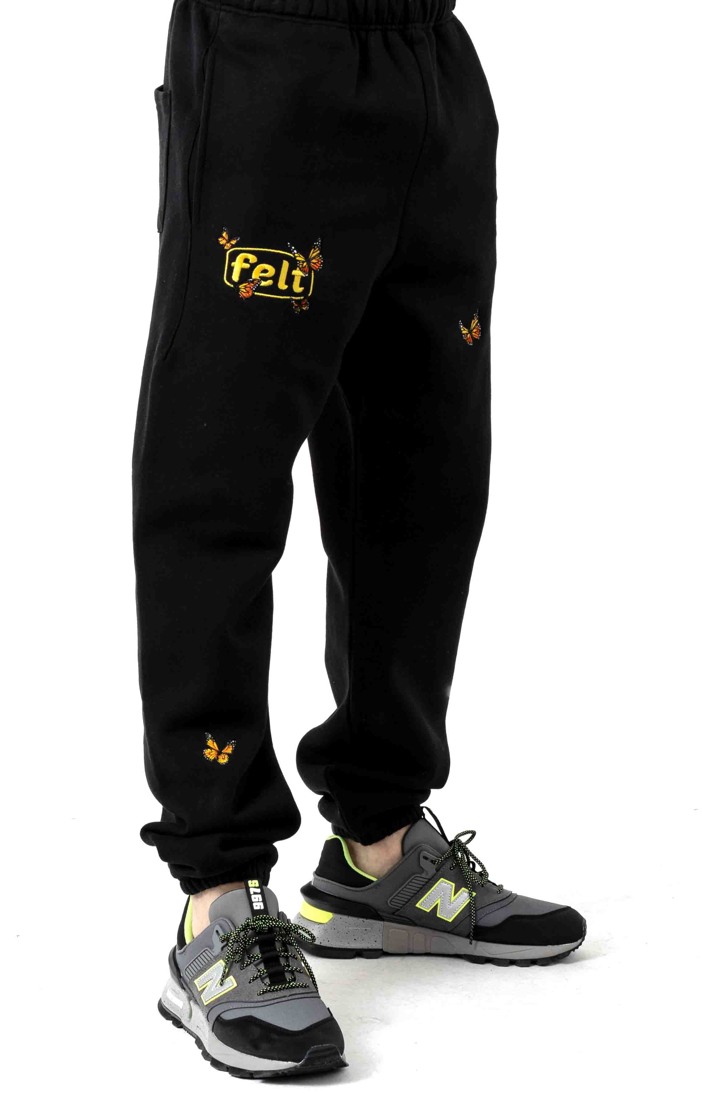 Butterfly Embroidered Sweatpants - Black
