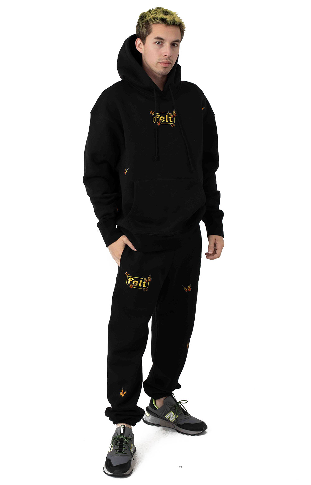 Butterfly Embroidered Sweatpants - Black 4