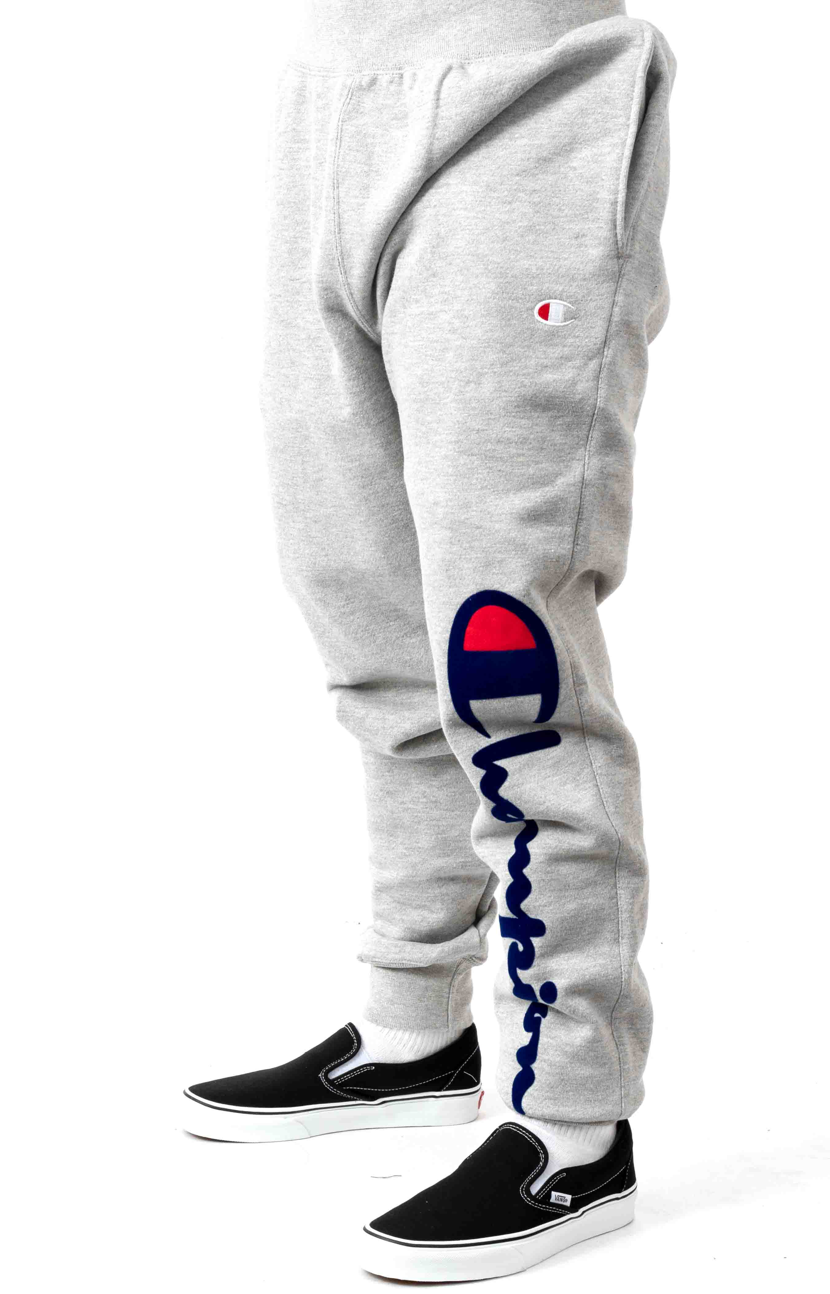 Reverse Weave Oversized Flock Script Jogger - Oxford Grey