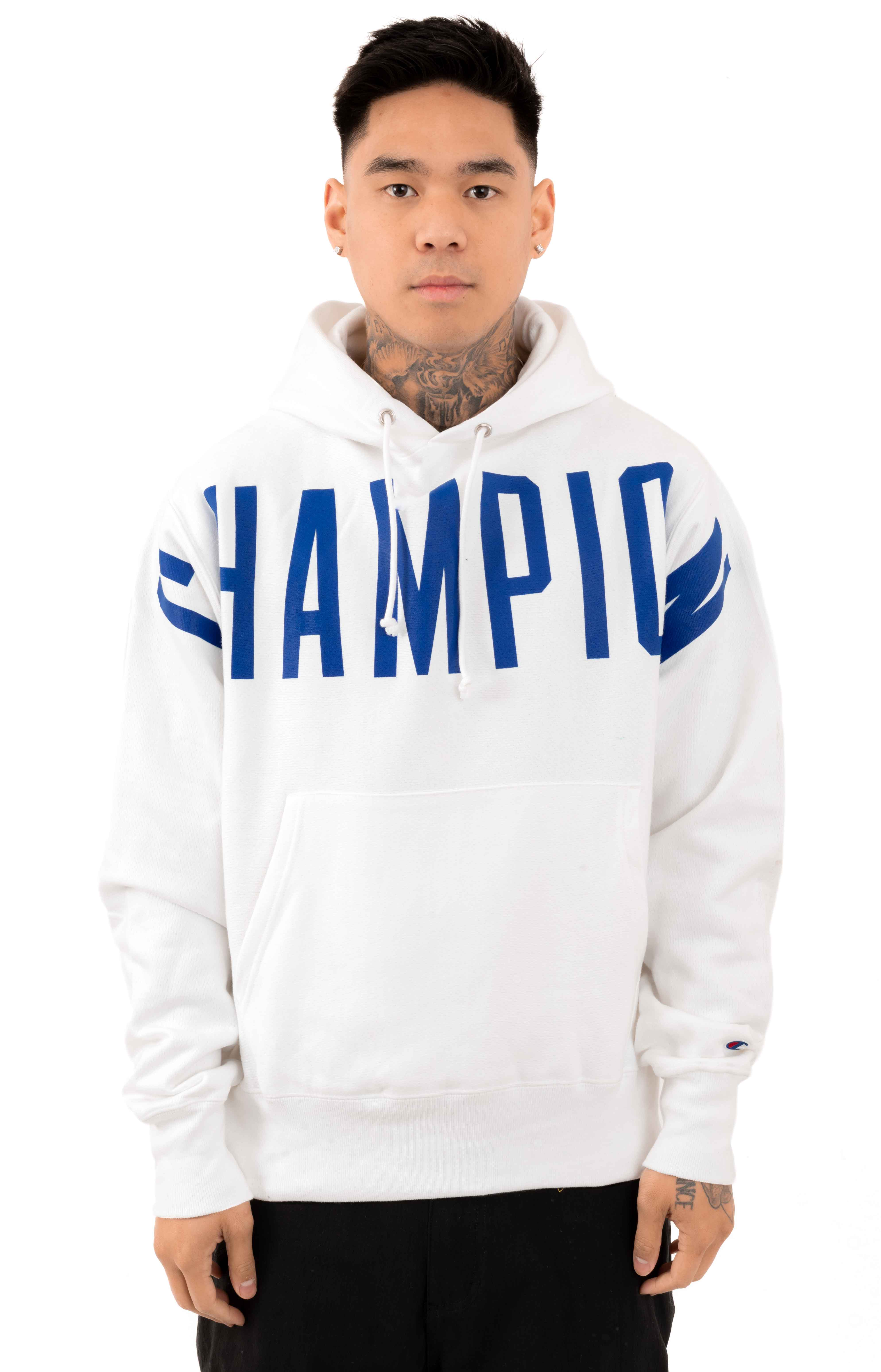 Reverse Weave Oversized Script Pullover Hoodie - White